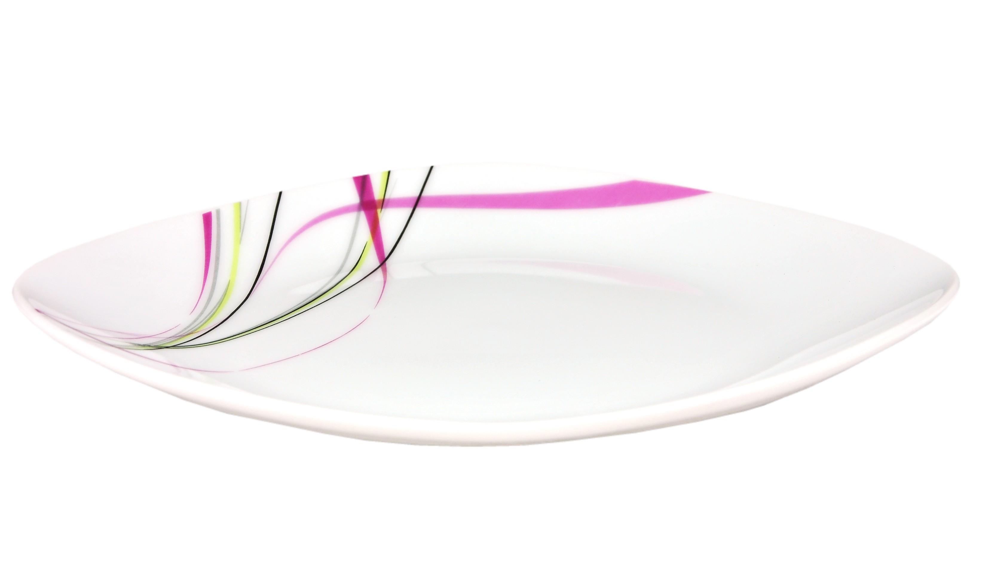 tafelservice fashion 12tlg leicht eckig porzellan f r 6 personen wei mit liniendekor porzellan. Black Bedroom Furniture Sets. Home Design Ideas