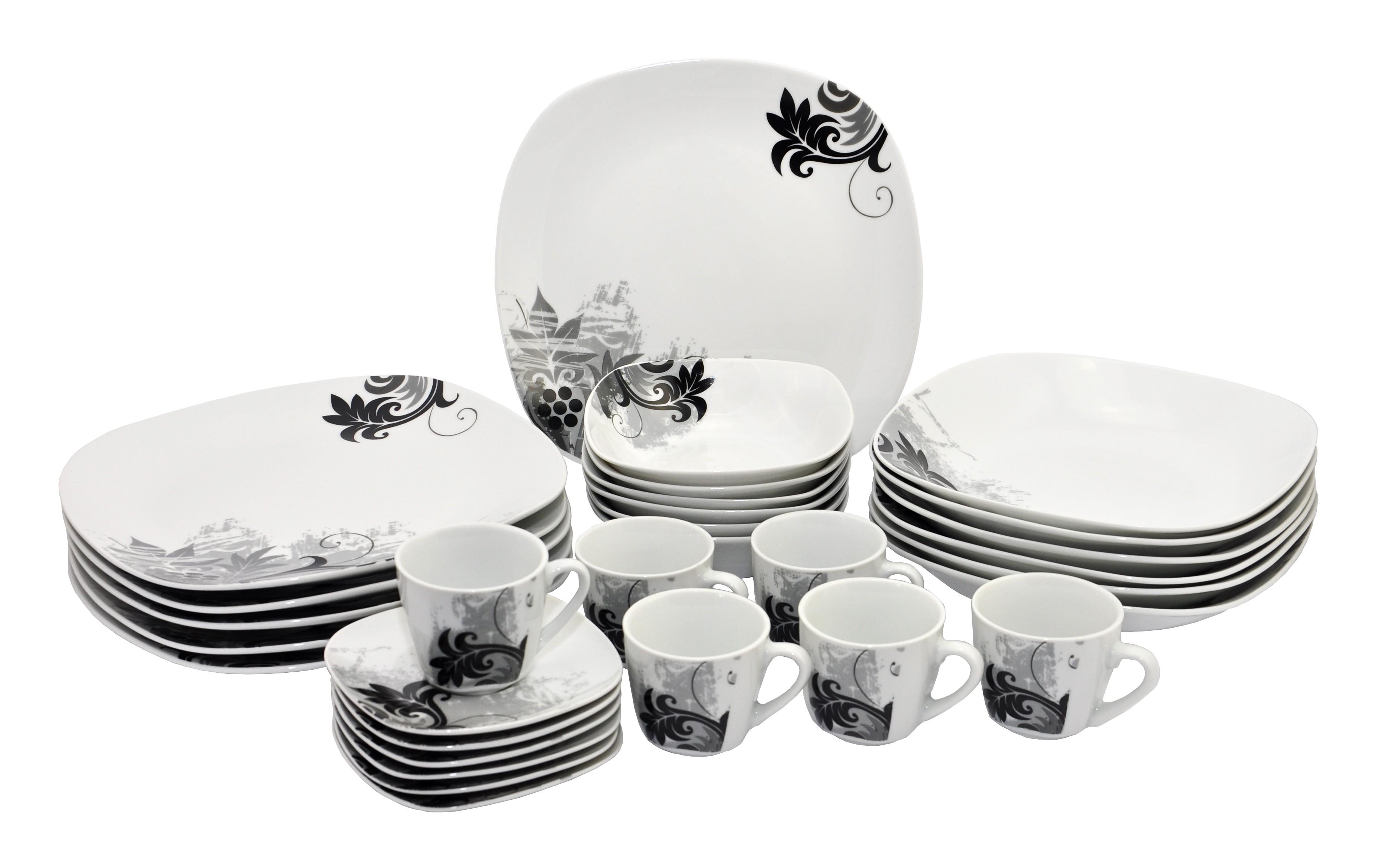 30tlg tafelservice black flower mit zubeh r 6 personen. Black Bedroom Furniture Sets. Home Design Ideas