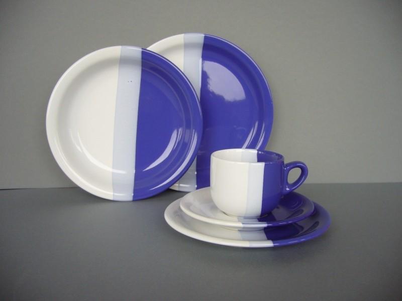 modern fashion 8 personen kombiservice 40tlg geschirr porzellan blau wei ebay. Black Bedroom Furniture Sets. Home Design Ideas
