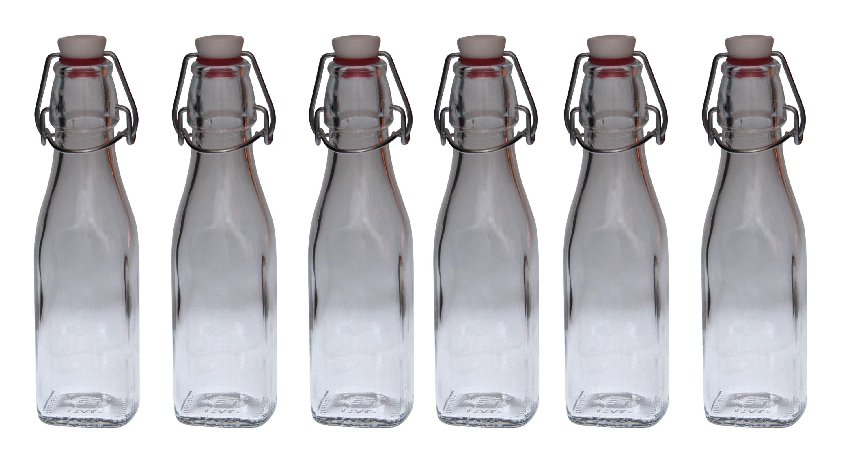 6er set glasflaschen serie swing mit b gelverschluss 0 25. Black Bedroom Furniture Sets. Home Design Ideas