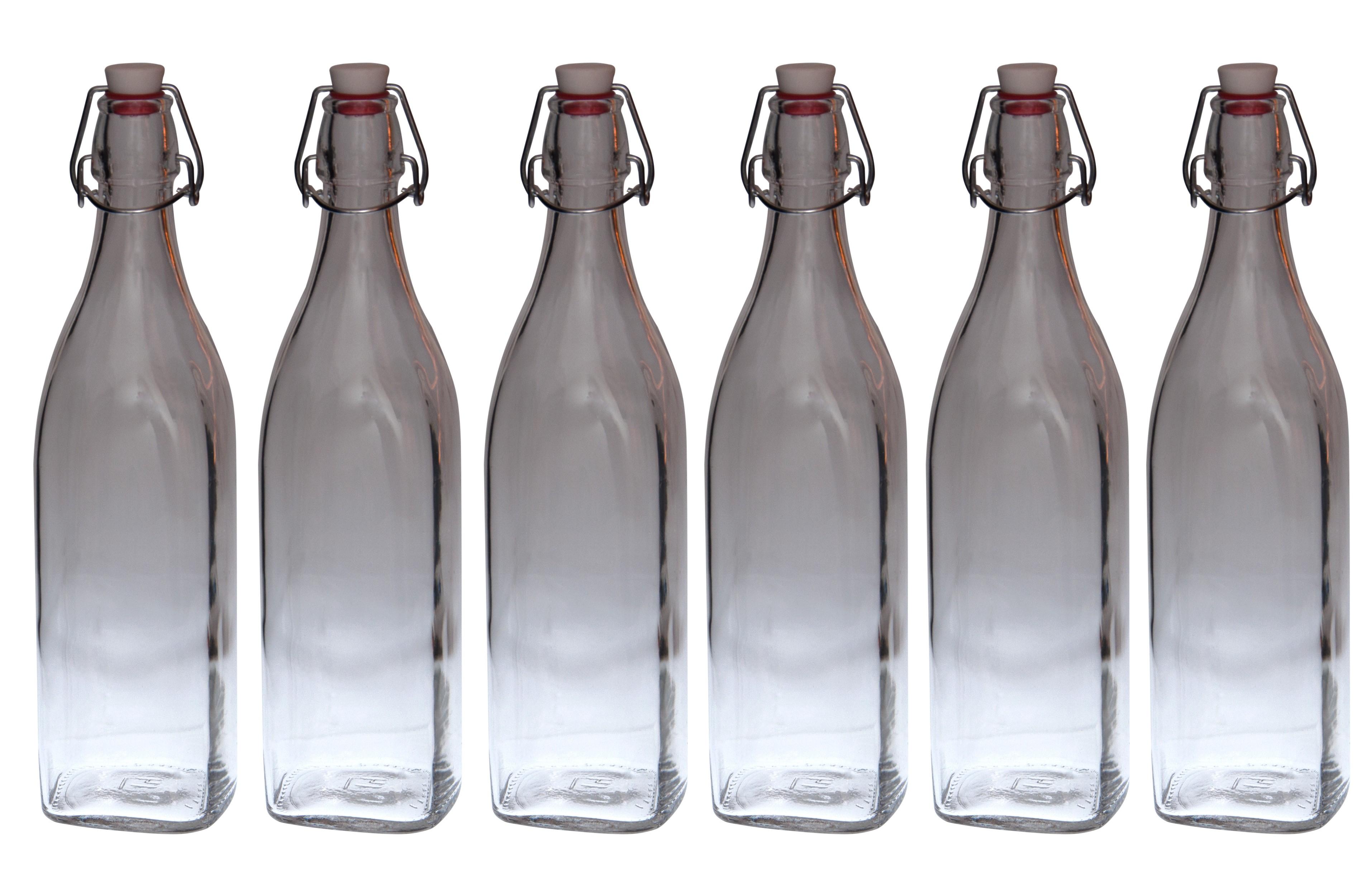 6er set glasflaschen swing mit b gelverschluss 1 00l schnaps lik r l abf llen ebay. Black Bedroom Furniture Sets. Home Design Ideas