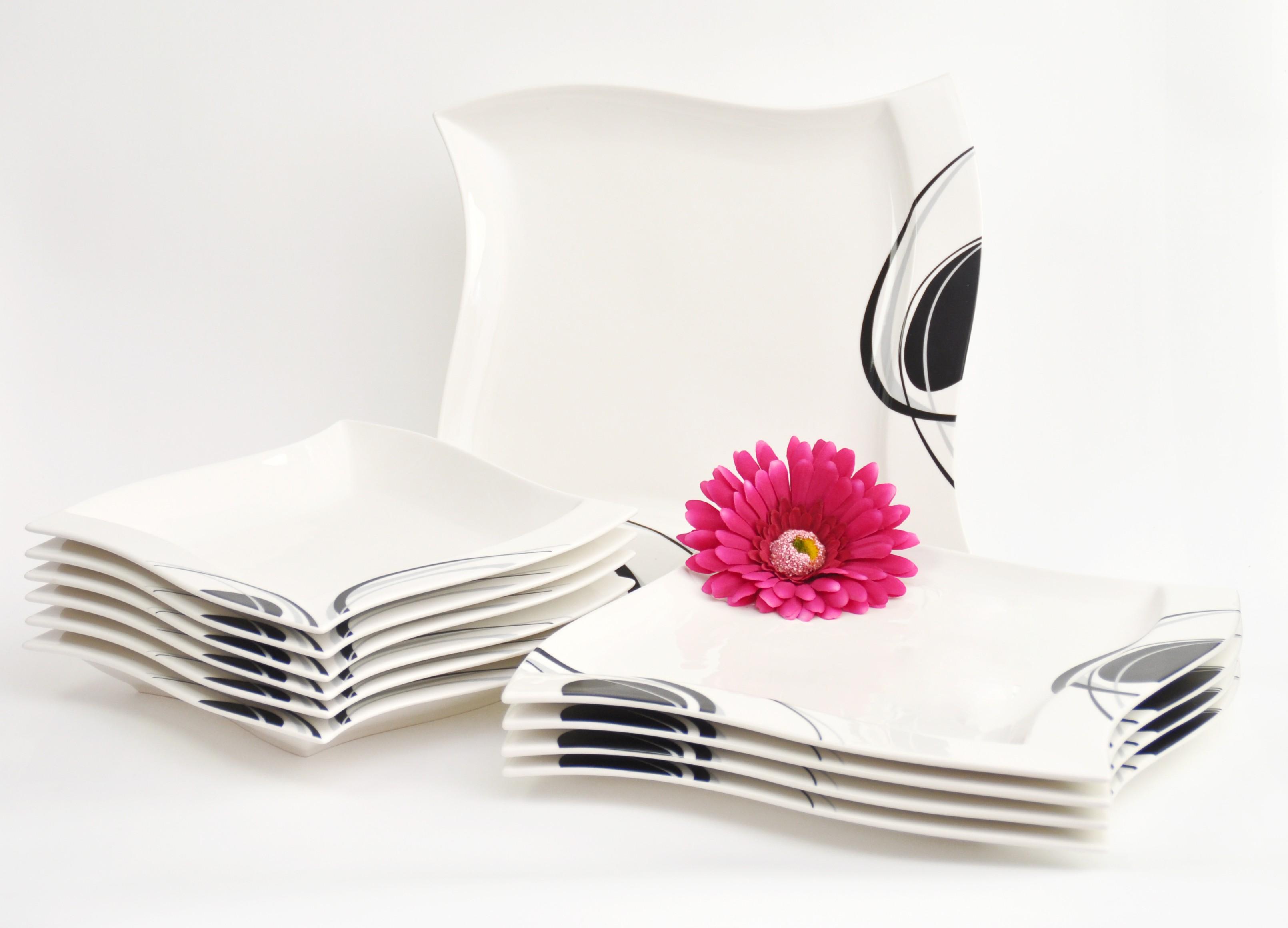 tafelservice scarlett 12 teilig eckig porzellan f r 6 personen wei mit schwarzem dekor. Black Bedroom Furniture Sets. Home Design Ideas
