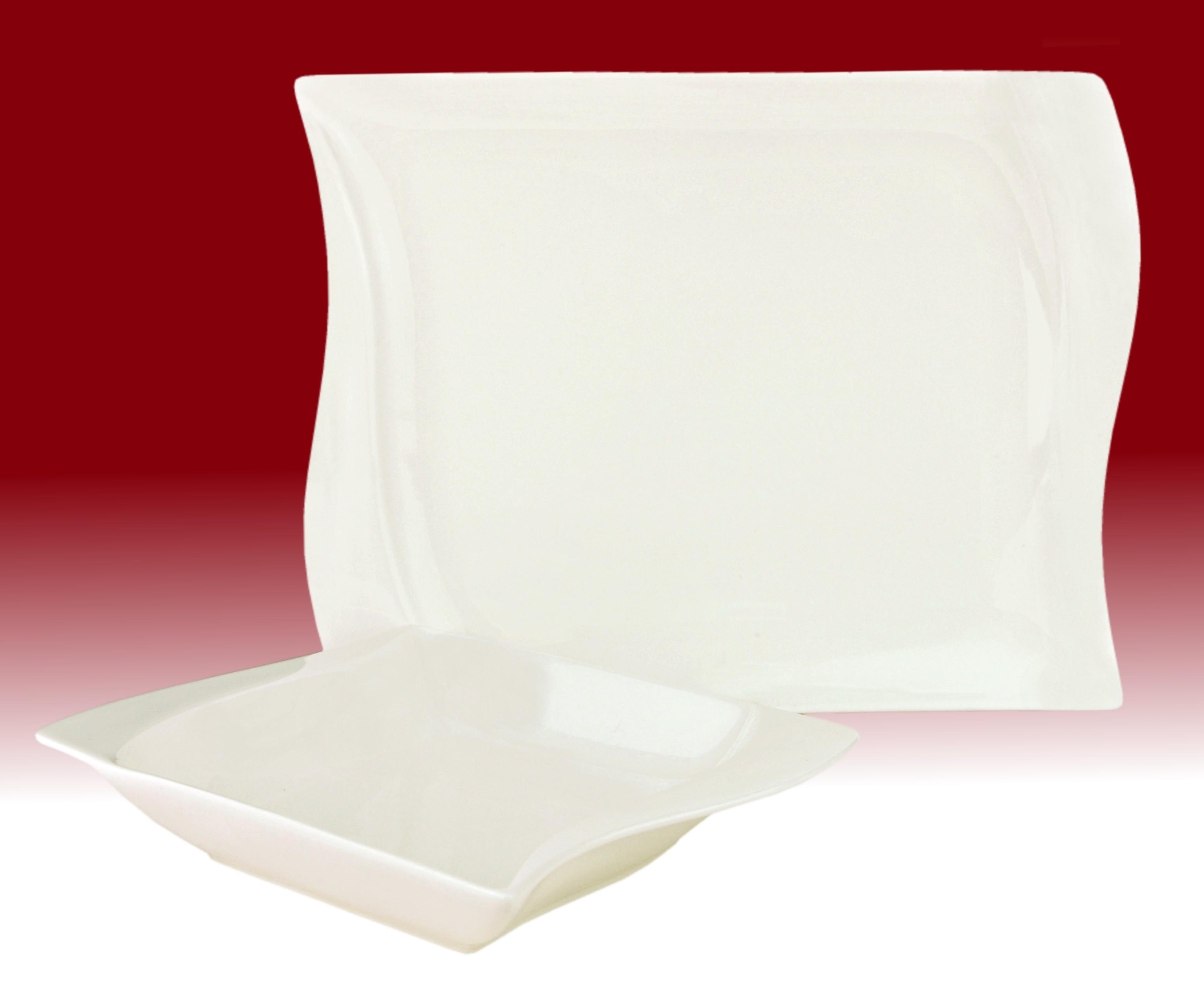 tafelservice harmony 24tlg eckig porzellan f r 12. Black Bedroom Furniture Sets. Home Design Ideas