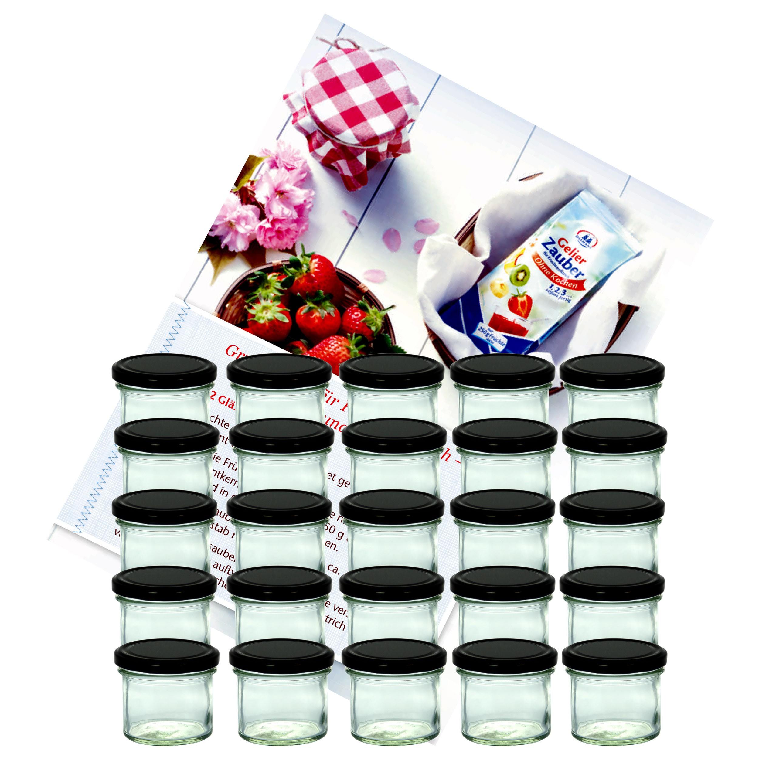 25er set sturzglas 125 ml marmeladenglas einmachglas einweckglas to 66 schwarzer deckel incl. Black Bedroom Furniture Sets. Home Design Ideas
