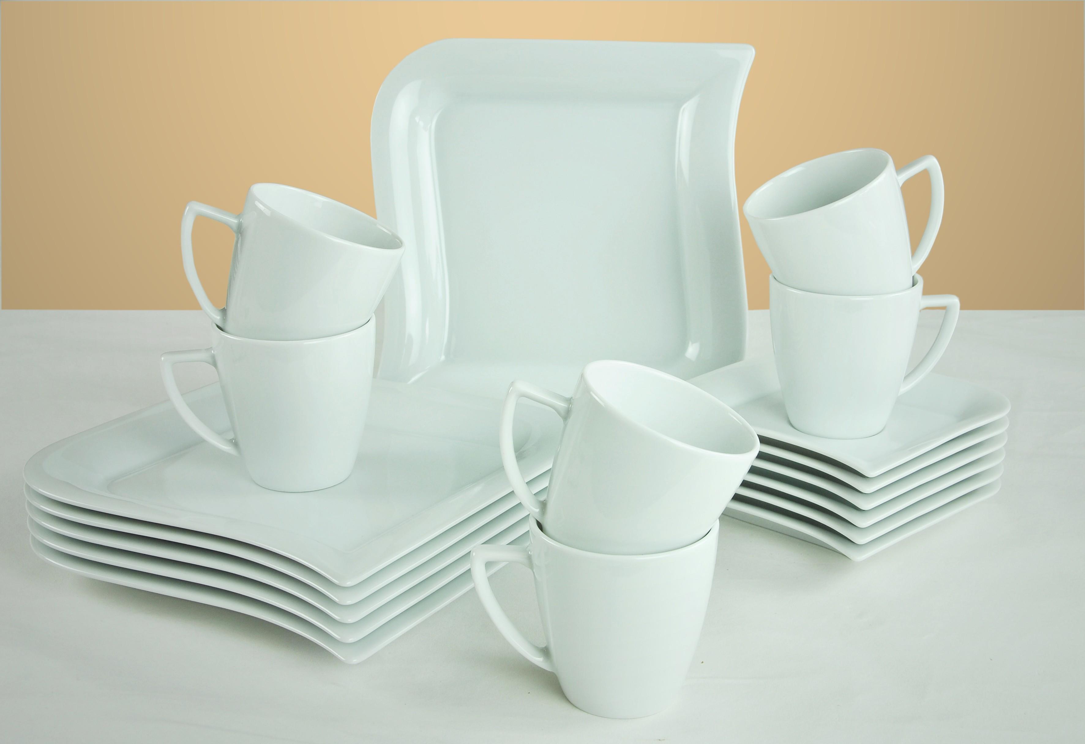 kaffeeservice opera 18 teilig eckig porzellan f r 6. Black Bedroom Furniture Sets. Home Design Ideas