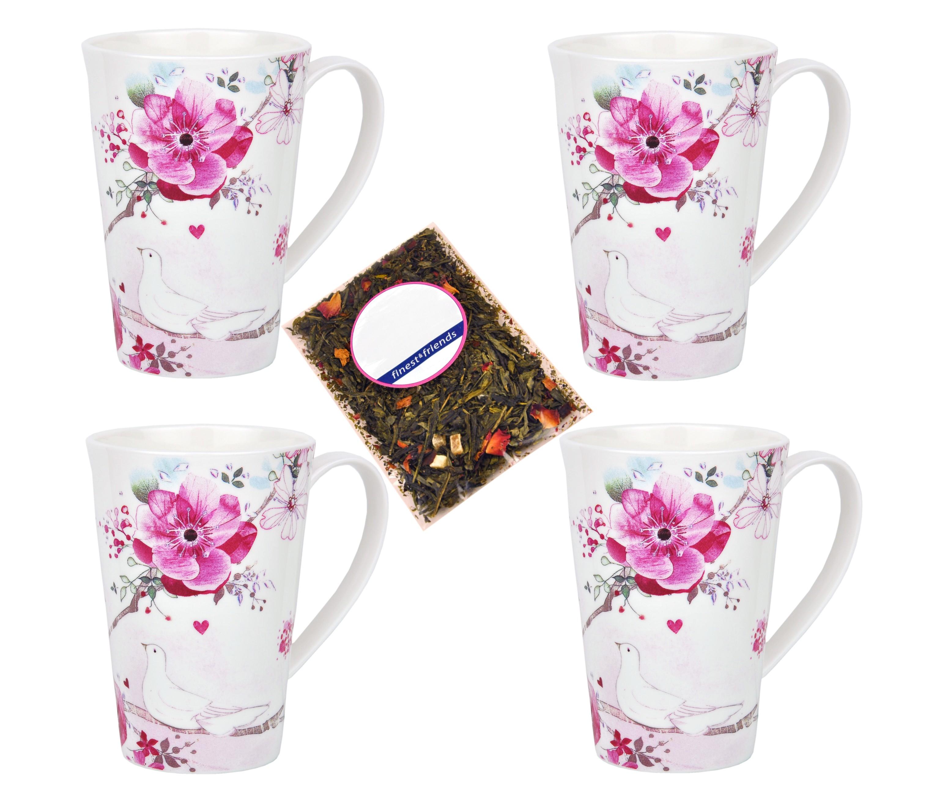 4er becher set mit rosen und tauben dekor jameson tailor 4502 teeprobe porzellan tassen. Black Bedroom Furniture Sets. Home Design Ideas