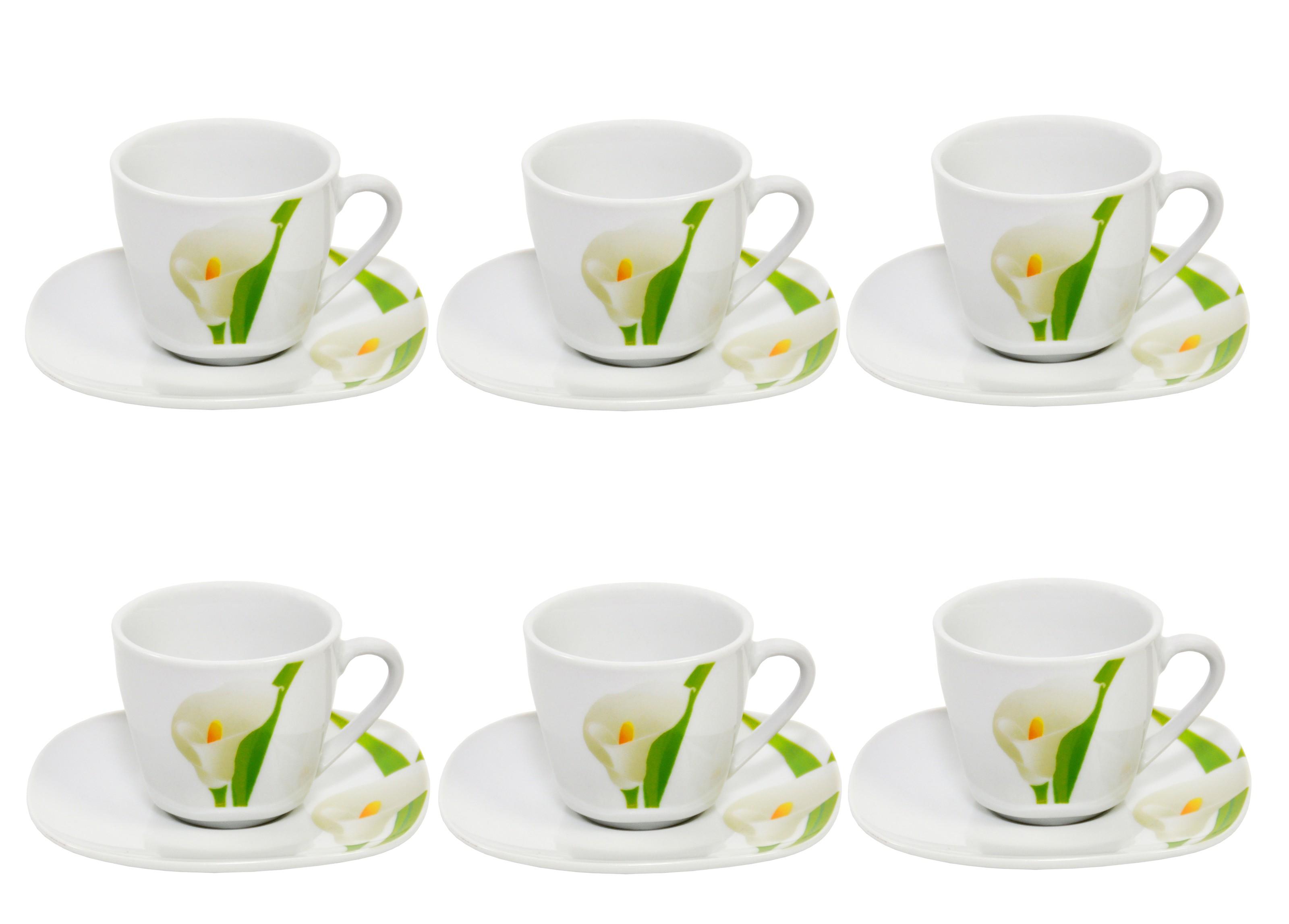 6er set espressotasse mit espressountertasse calla porzellan tassen und becher. Black Bedroom Furniture Sets. Home Design Ideas