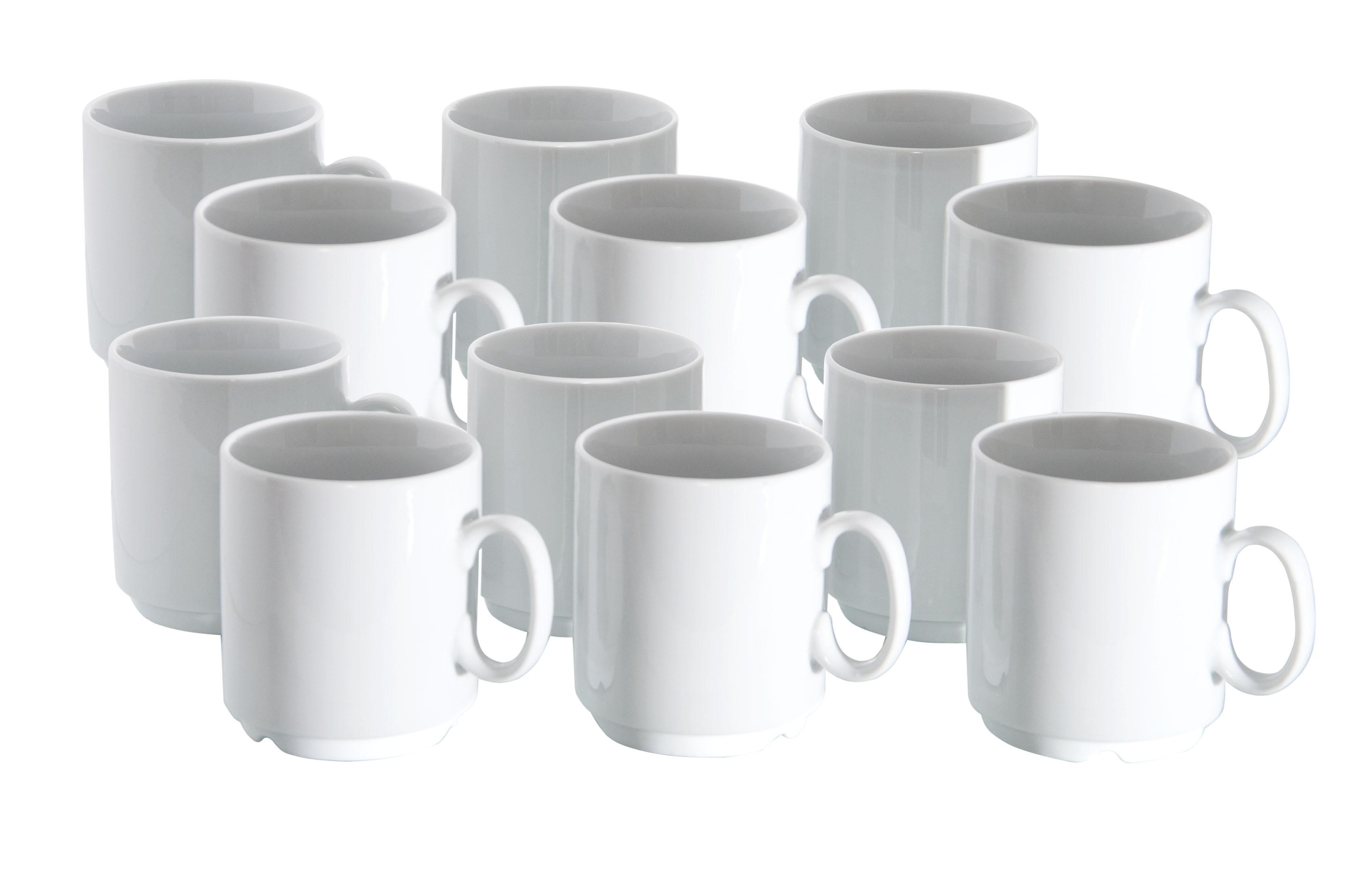 12er set van well porzellan kaffeebecher profi 280ml wei stapelbar porzellan tassen und becher. Black Bedroom Furniture Sets. Home Design Ideas