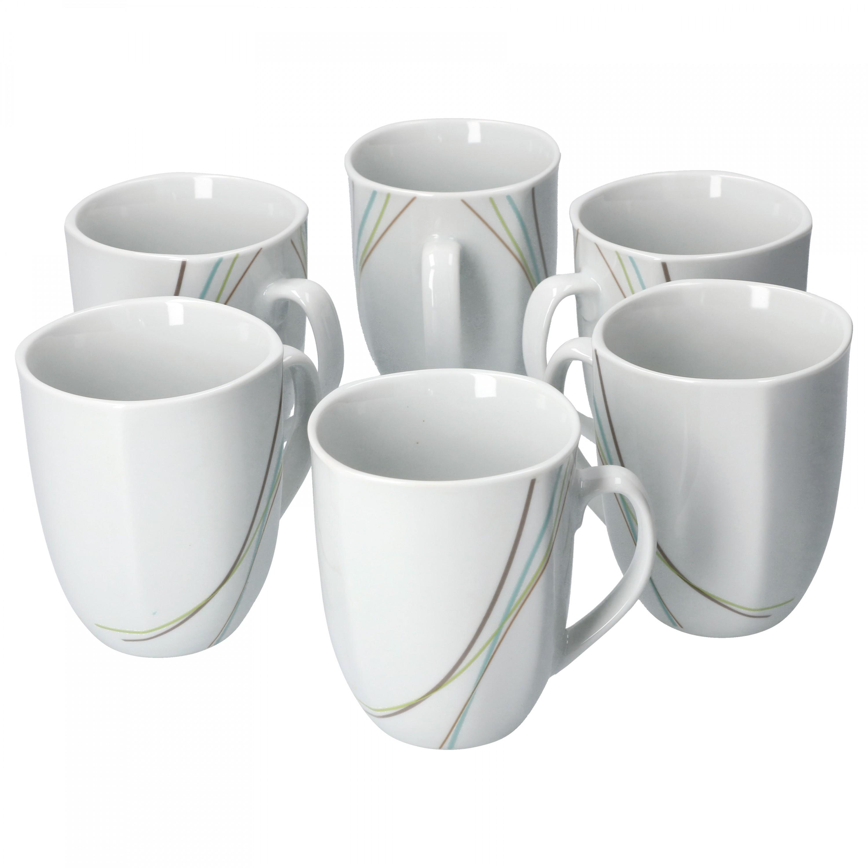 6er Essteller flach Aliha 25cm Porzellan Geschirr Liniendekor Speiseteller weiß