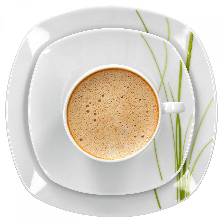 kaffeeservice 36tlg bali leicht eckig porzellan f r 12. Black Bedroom Furniture Sets. Home Design Ideas