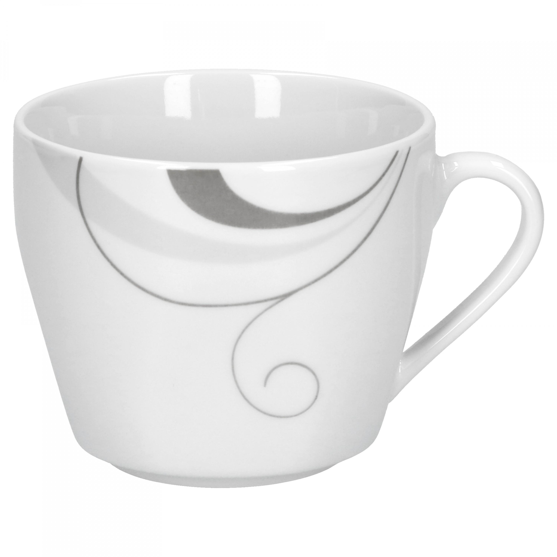 kaffeeservice 36tlg portofino leicht eckig porzellan f r 12 personen wei mit grauem. Black Bedroom Furniture Sets. Home Design Ideas