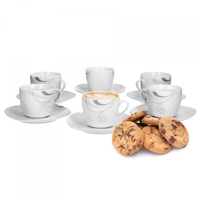 6er set kaffeetasse mit kaffeeuntertasse portofino porzellan tassen und becher. Black Bedroom Furniture Sets. Home Design Ideas