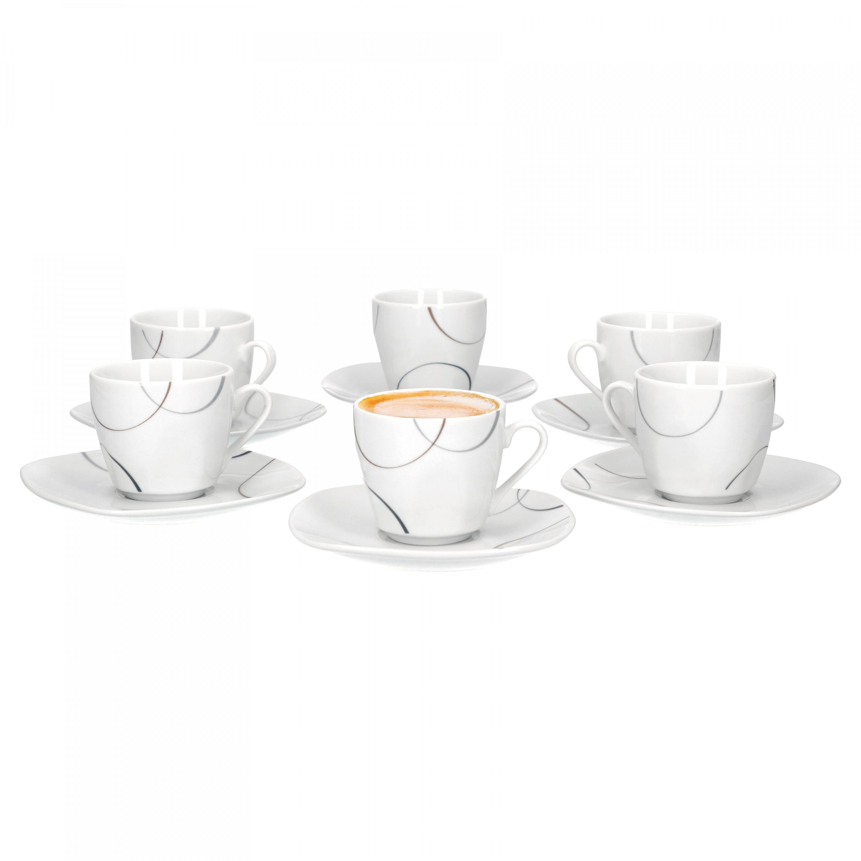 6er espressotasse mit espressountertasse salerno porzellan. Black Bedroom Furniture Sets. Home Design Ideas