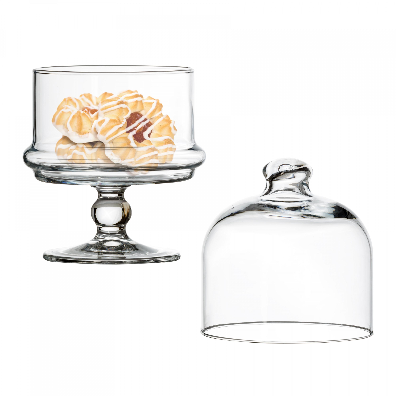 mini patisserie glasschale auf fu mit haube 115 mm h. Black Bedroom Furniture Sets. Home Design Ideas
