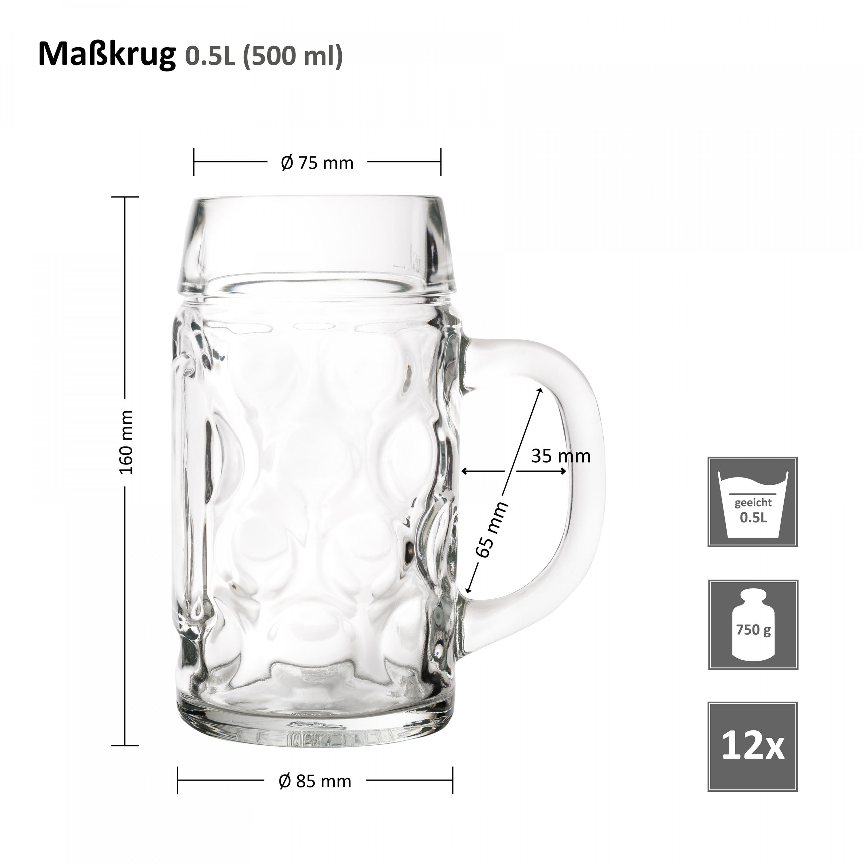 12er set bierkrug wellco 0 5 liter aus glas glas biergl ser. Black Bedroom Furniture Sets. Home Design Ideas