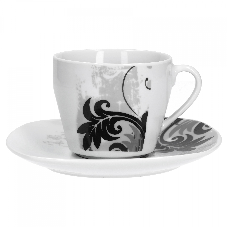 2tlg set kaffeetasse mit untertasse black flower porzellan erg nzungsteile. Black Bedroom Furniture Sets. Home Design Ideas