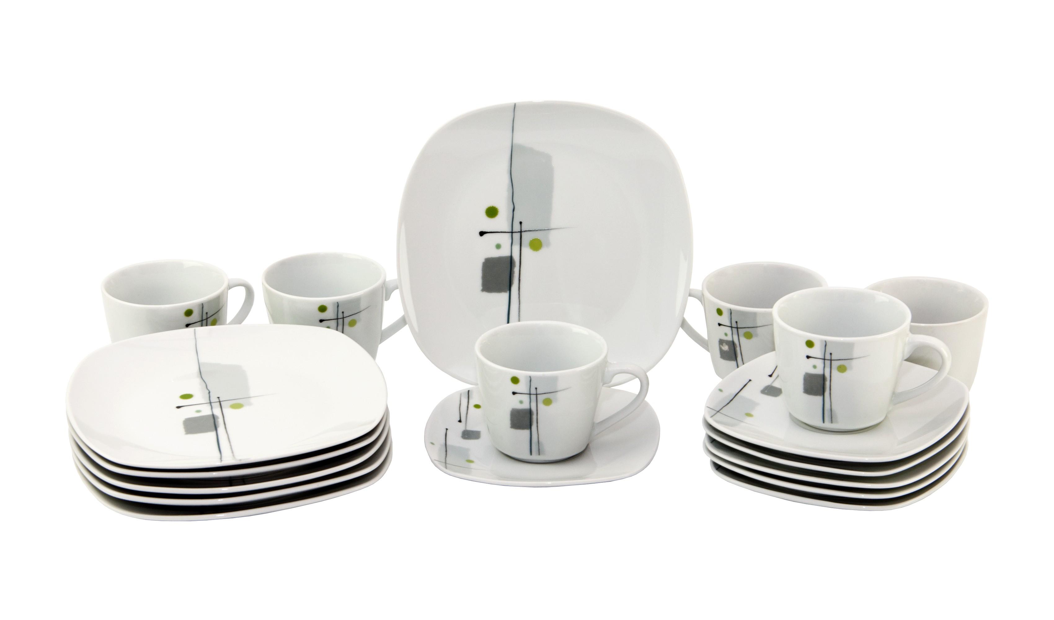 kaffeeservice lido 36tlg leicht eckig porzellan f r 12 personen wei mit dekor porzellan. Black Bedroom Furniture Sets. Home Design Ideas