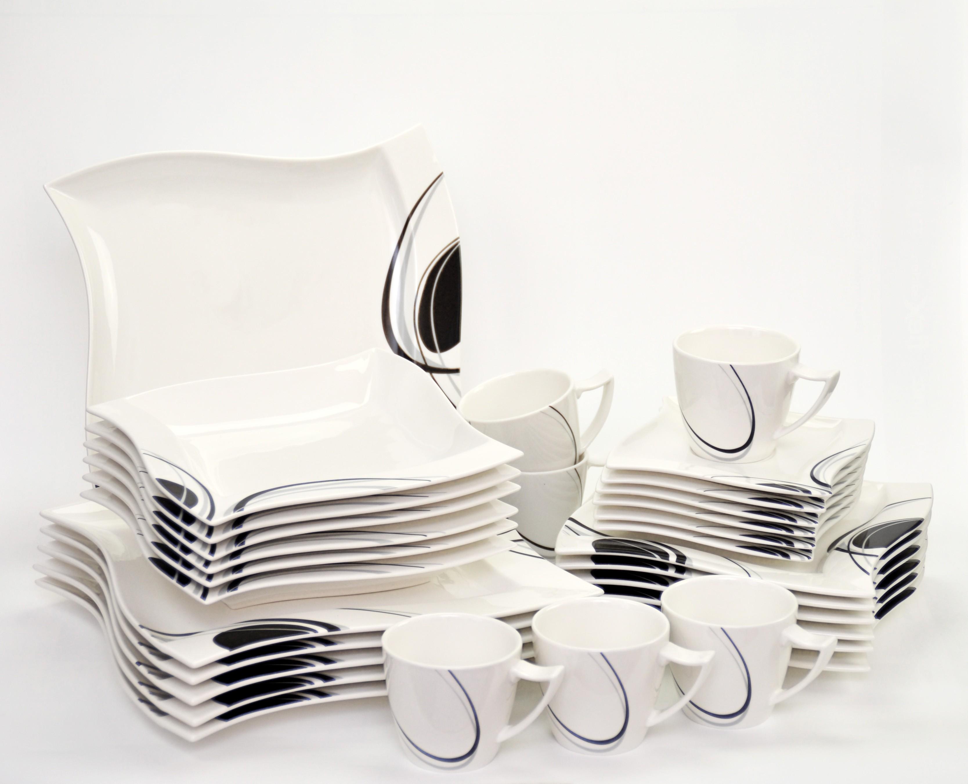 kombiservice scarlett 60 teilig eckig porzellan f r 12. Black Bedroom Furniture Sets. Home Design Ideas