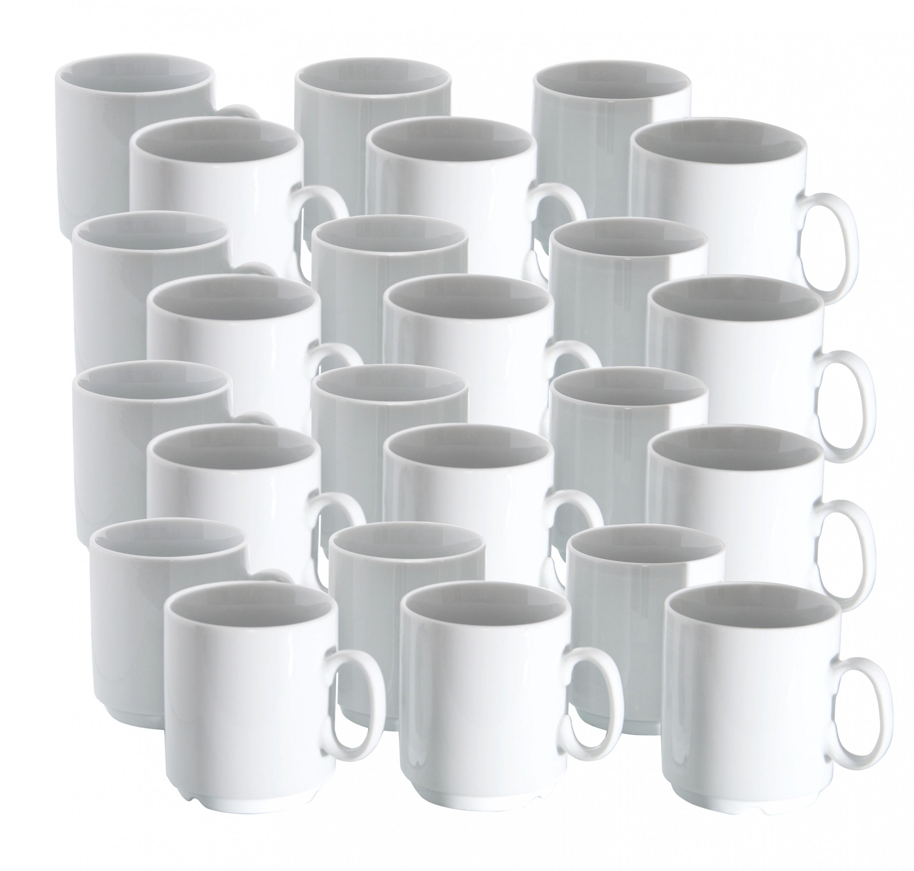 24er set porzellan kaffeebecher profi 280ml wei stapelbar becher tasse pott ebay. Black Bedroom Furniture Sets. Home Design Ideas