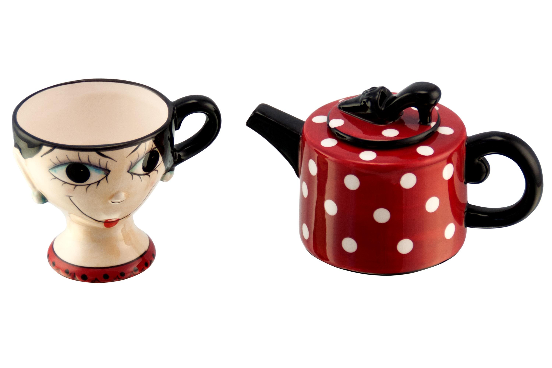 3tlg set tea for one design m dchen schwarze haare rot wei gepunktete teekanne mit deckel. Black Bedroom Furniture Sets. Home Design Ideas