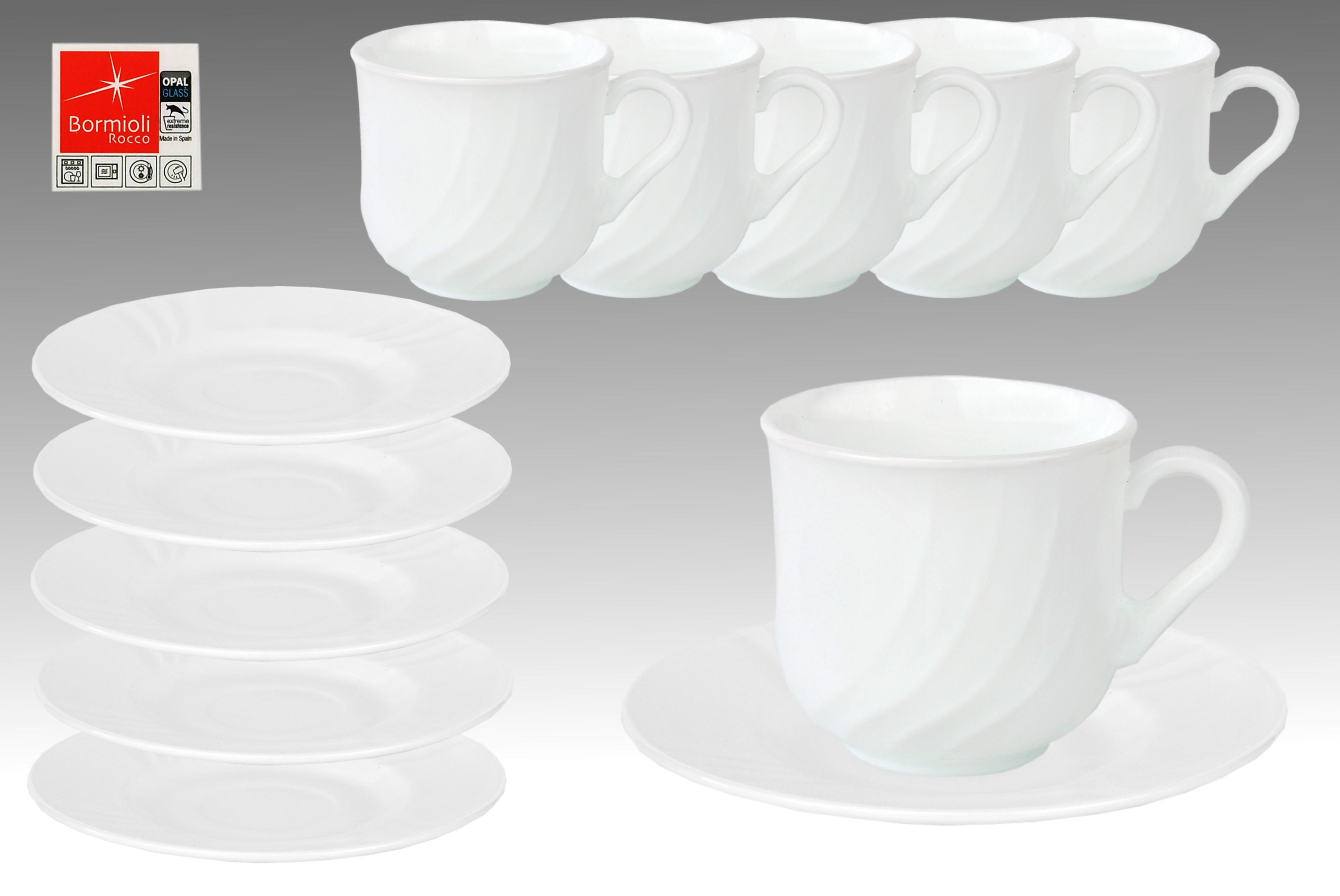 6er set kaffeetasse 25cl mit untertasse 15 5cm ebro aus opal hartglas porzellan tassen und becher. Black Bedroom Furniture Sets. Home Design Ideas