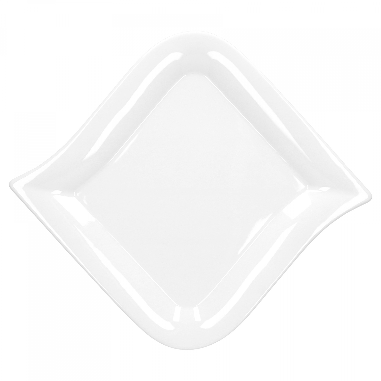 tafelservice opera 12 teilig eckig porzellan f r 6 personen wei geschwungene kanten porzellan. Black Bedroom Furniture Sets. Home Design Ideas