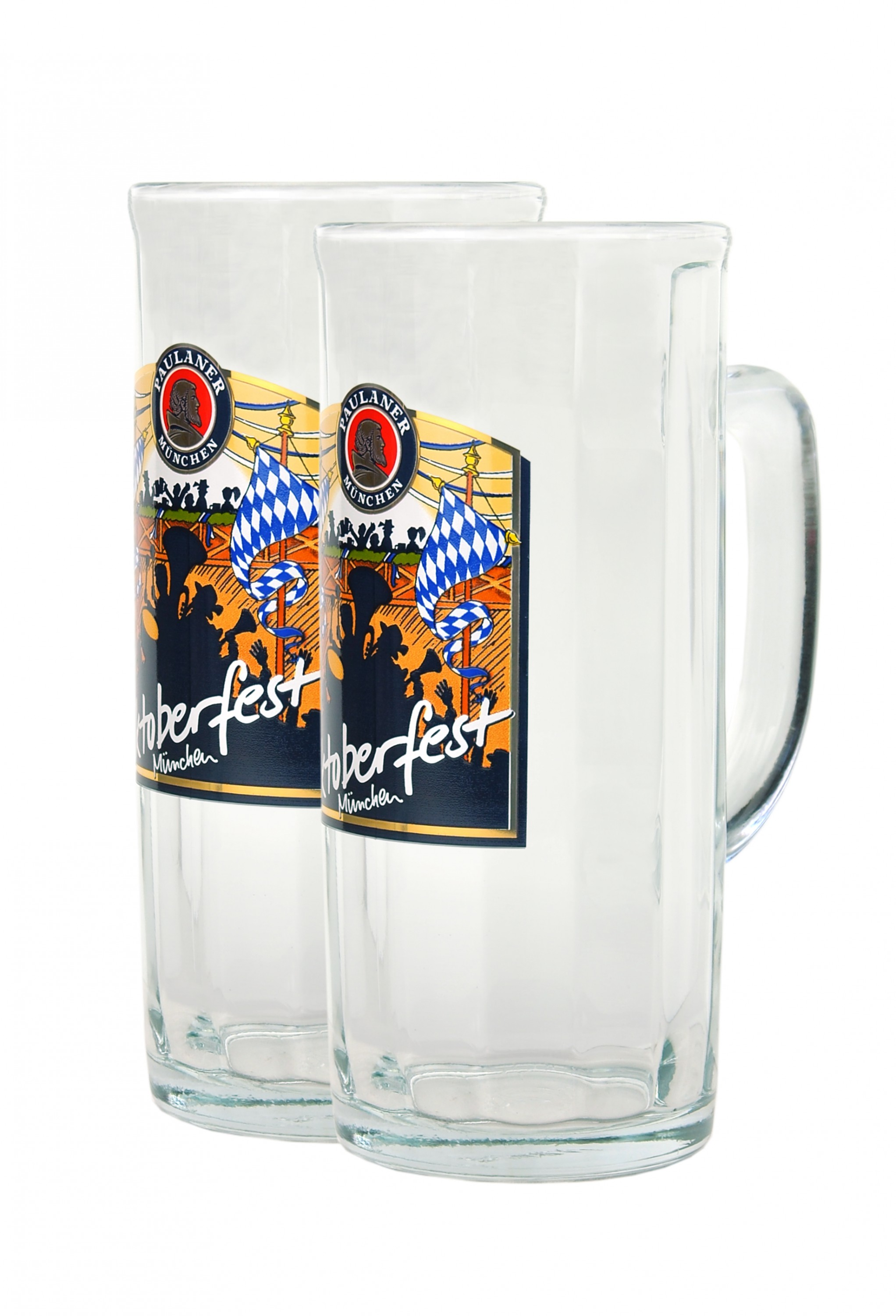 2er set paulaner bierseidel 0 5 liter bierglas bierkrug mit eichstrich und oktoberfest dekor. Black Bedroom Furniture Sets. Home Design Ideas