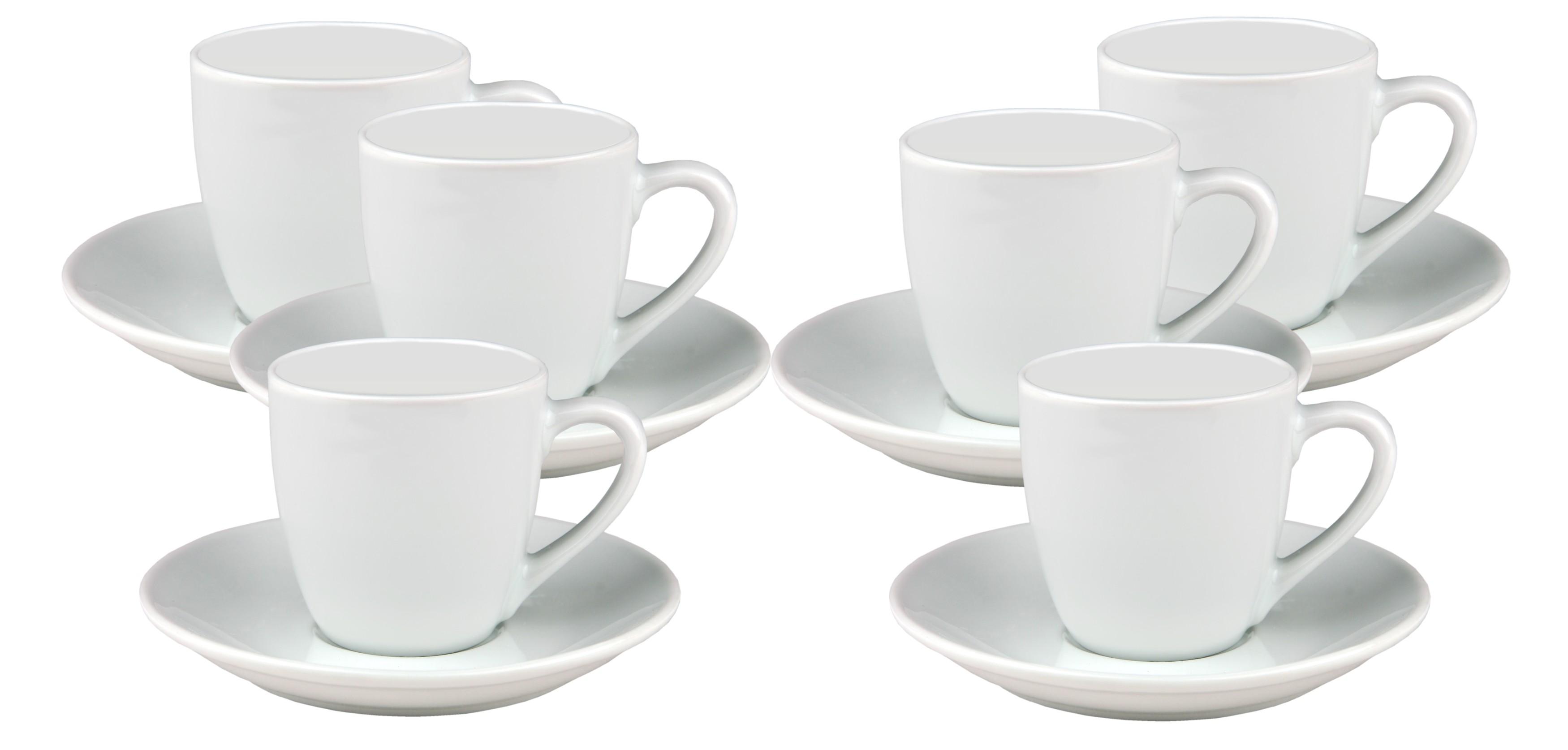 6er set gloria 10cl espressotasse mit untertasse tassen kaffee wei porzellan ebay. Black Bedroom Furniture Sets. Home Design Ideas