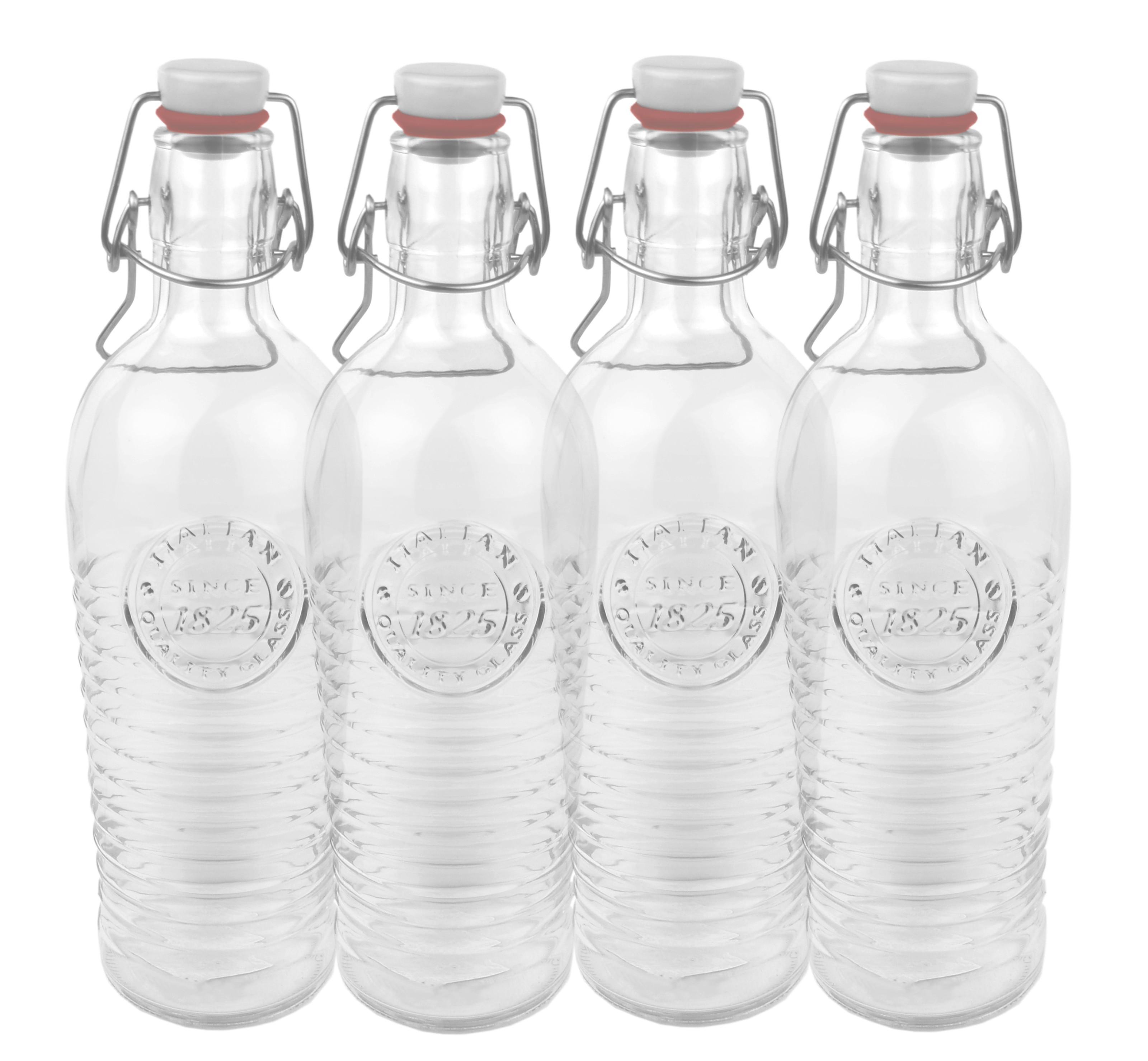4er set glasflasche officina 1825 geriffelte 1 2 liter flasche mit b gelverschluss und relief. Black Bedroom Furniture Sets. Home Design Ideas