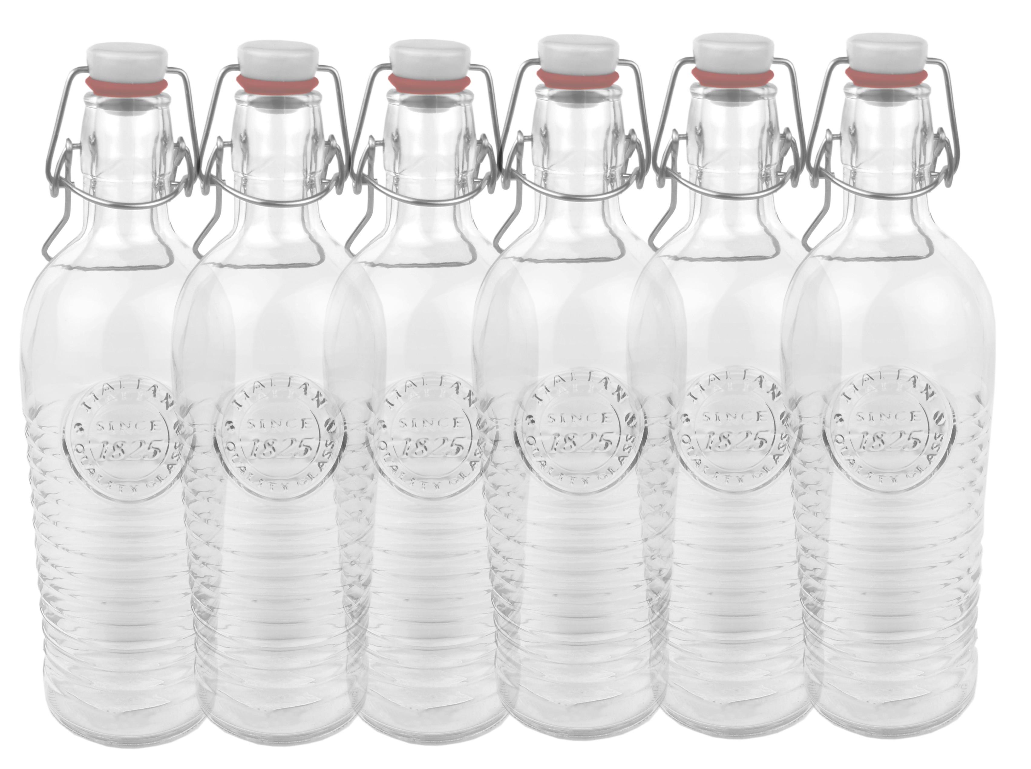 6er set glasflasche officina 1825 geriffelte 1 2 liter flasche mit b gelverschluss und relief. Black Bedroom Furniture Sets. Home Design Ideas