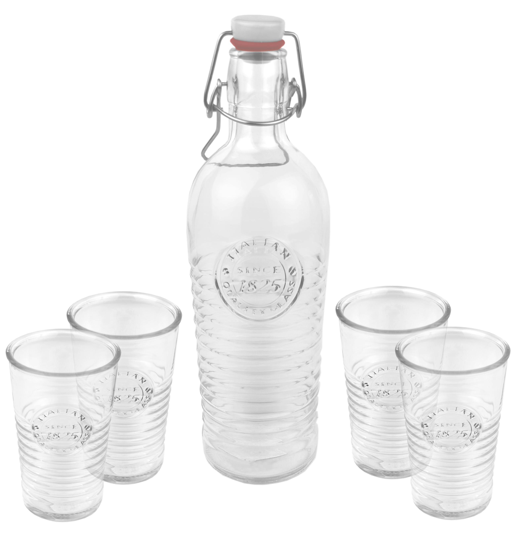 5 tlg set 1 glasflasche 4 glasbecher officina 1825 1 2 liter flasche mit b gelverschluss. Black Bedroom Furniture Sets. Home Design Ideas