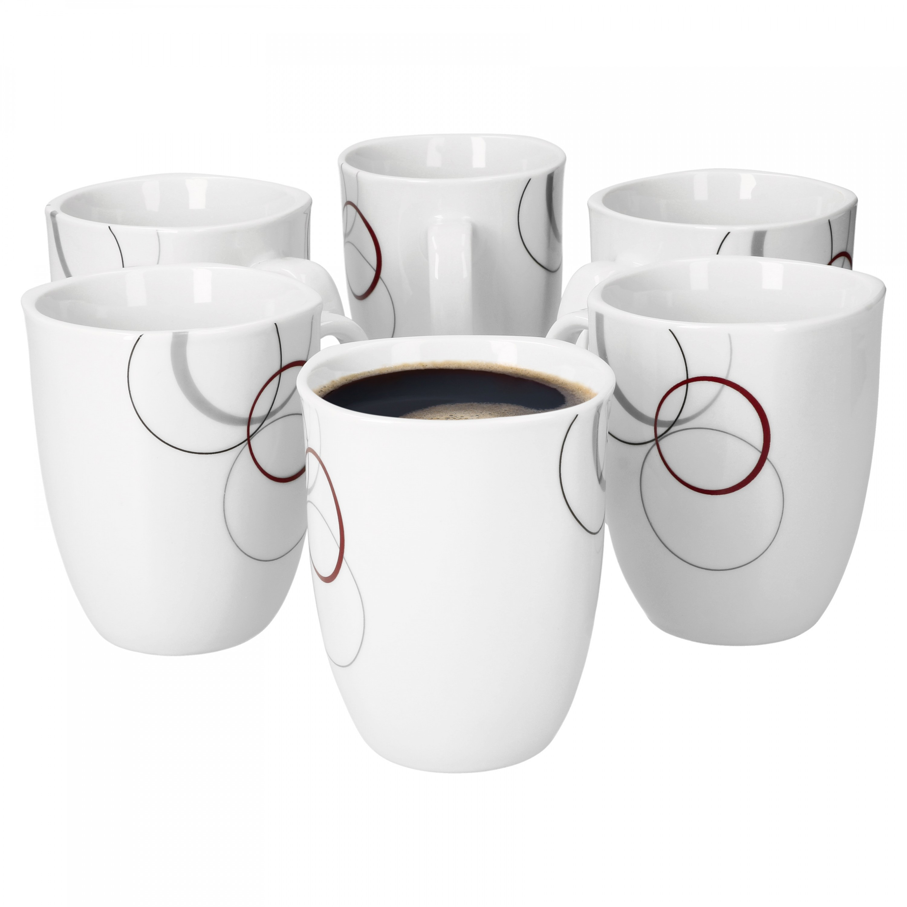 6er set kaffeebecher palazzo 33cl kaffeetasse aus wei em porzellan mit dekor kreisen in grau. Black Bedroom Furniture Sets. Home Design Ideas