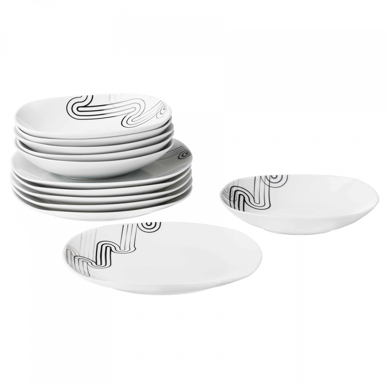 tafelservice 12 tlg costa leicht eckig porzellan f r 6 personen wei mit grauem dekor porzellan. Black Bedroom Furniture Sets. Home Design Ideas