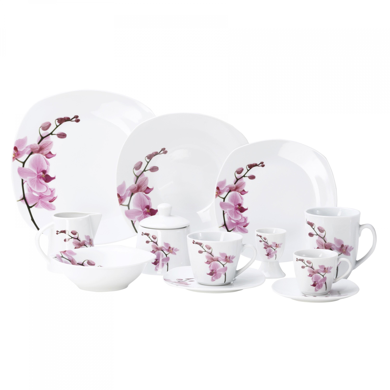 kombiservice 124tlg kyoto orchidee leicht eckig porzellan f r 12 personen wei mit dekor. Black Bedroom Furniture Sets. Home Design Ideas