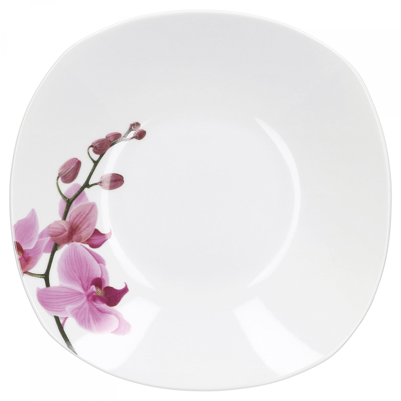 tafelservice 24 tlg kyoto orchidee leicht eckig porzellan f r 12 personen wei mit dekor. Black Bedroom Furniture Sets. Home Design Ideas