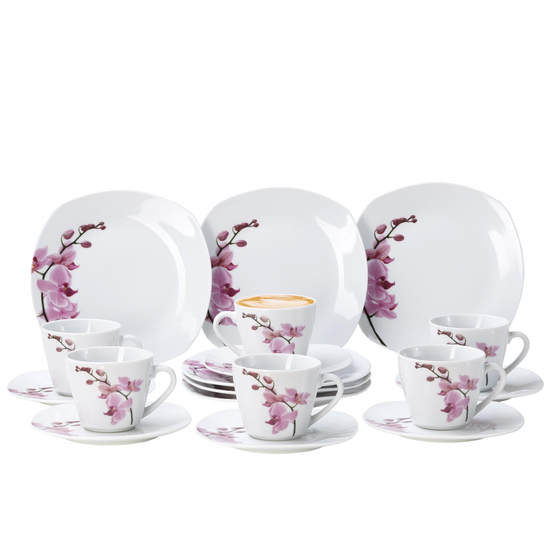 kaffeeservice 36 tlg kyoto orchidee leicht eckig porzellan f r 12 personen wei mit dekor. Black Bedroom Furniture Sets. Home Design Ideas