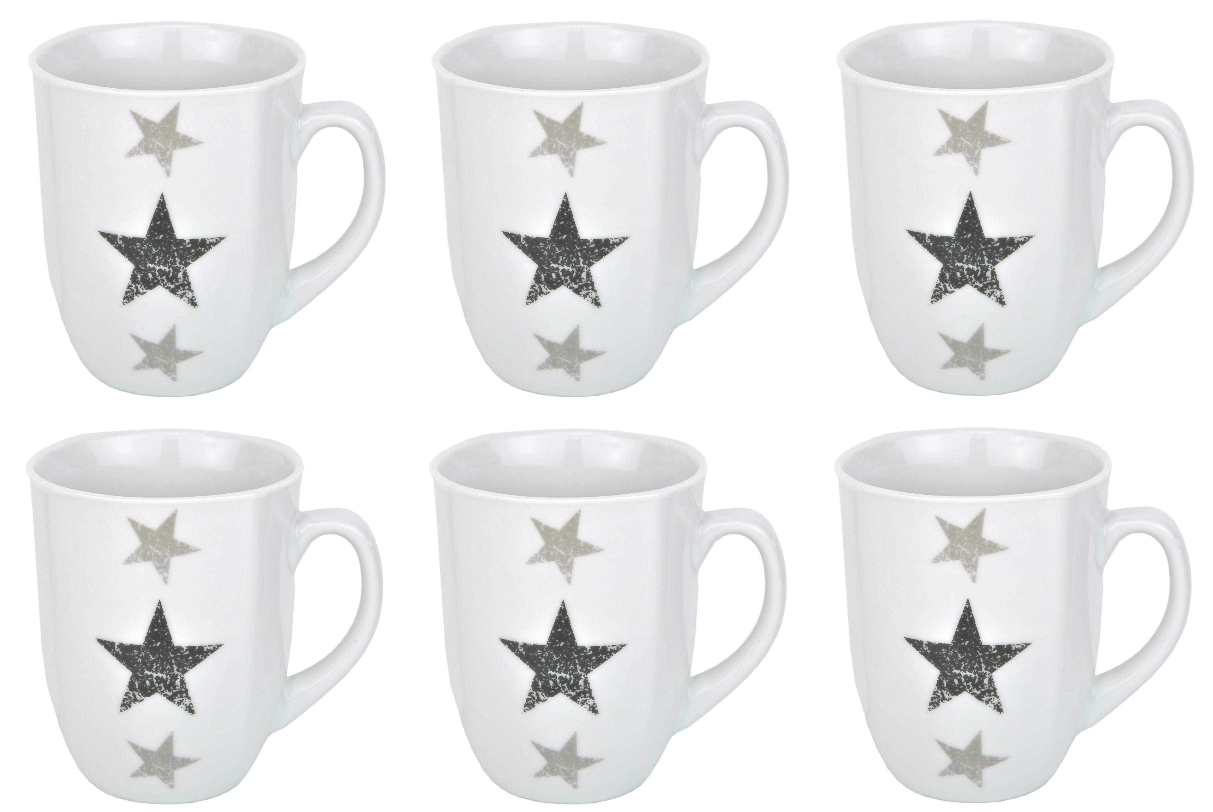 6er set kaffeebecher stars 33cl porzellan tassen und becher. Black Bedroom Furniture Sets. Home Design Ideas