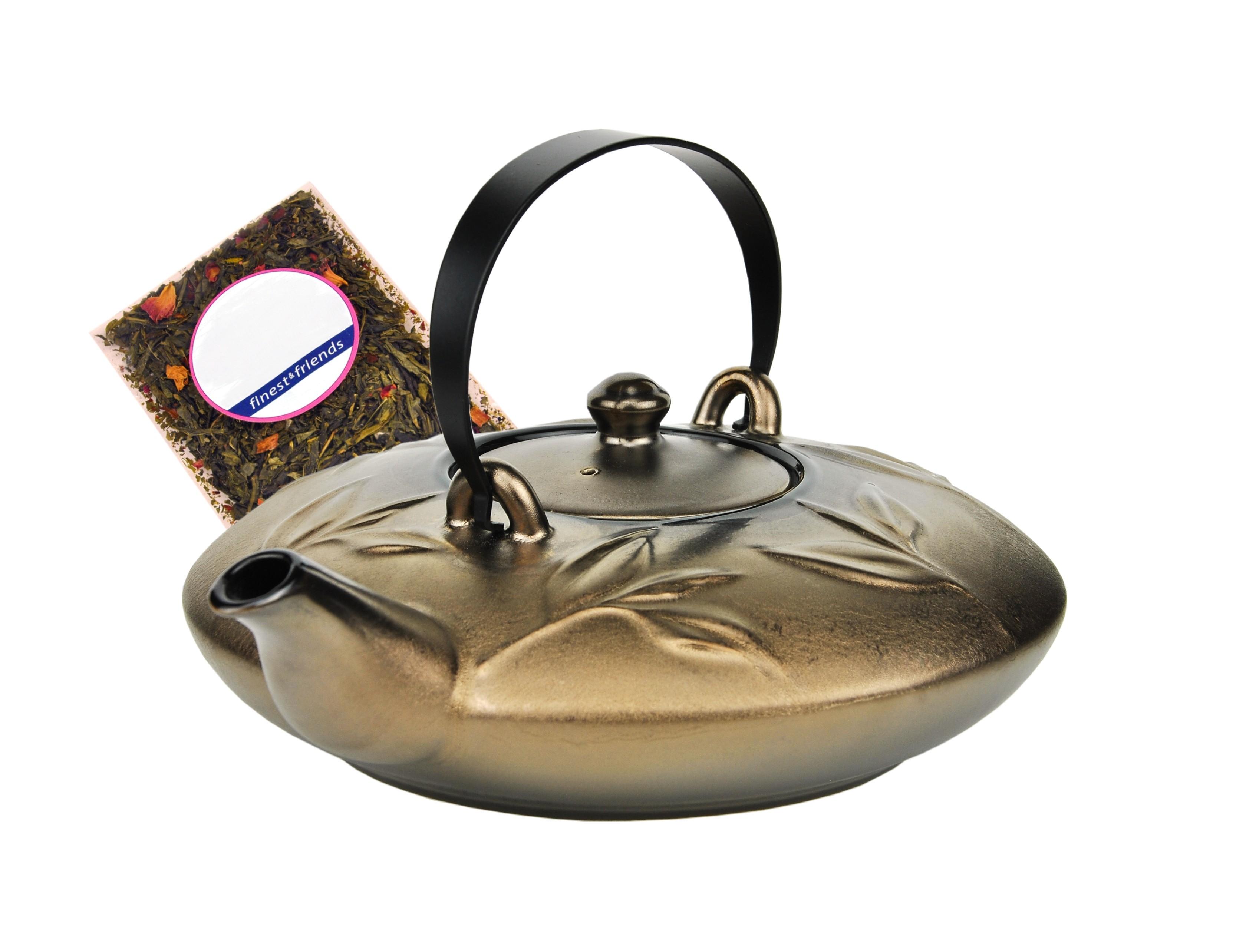 japanische teekanne keramik kyoto mit metallhenkel 0 7l. Black Bedroom Furniture Sets. Home Design Ideas