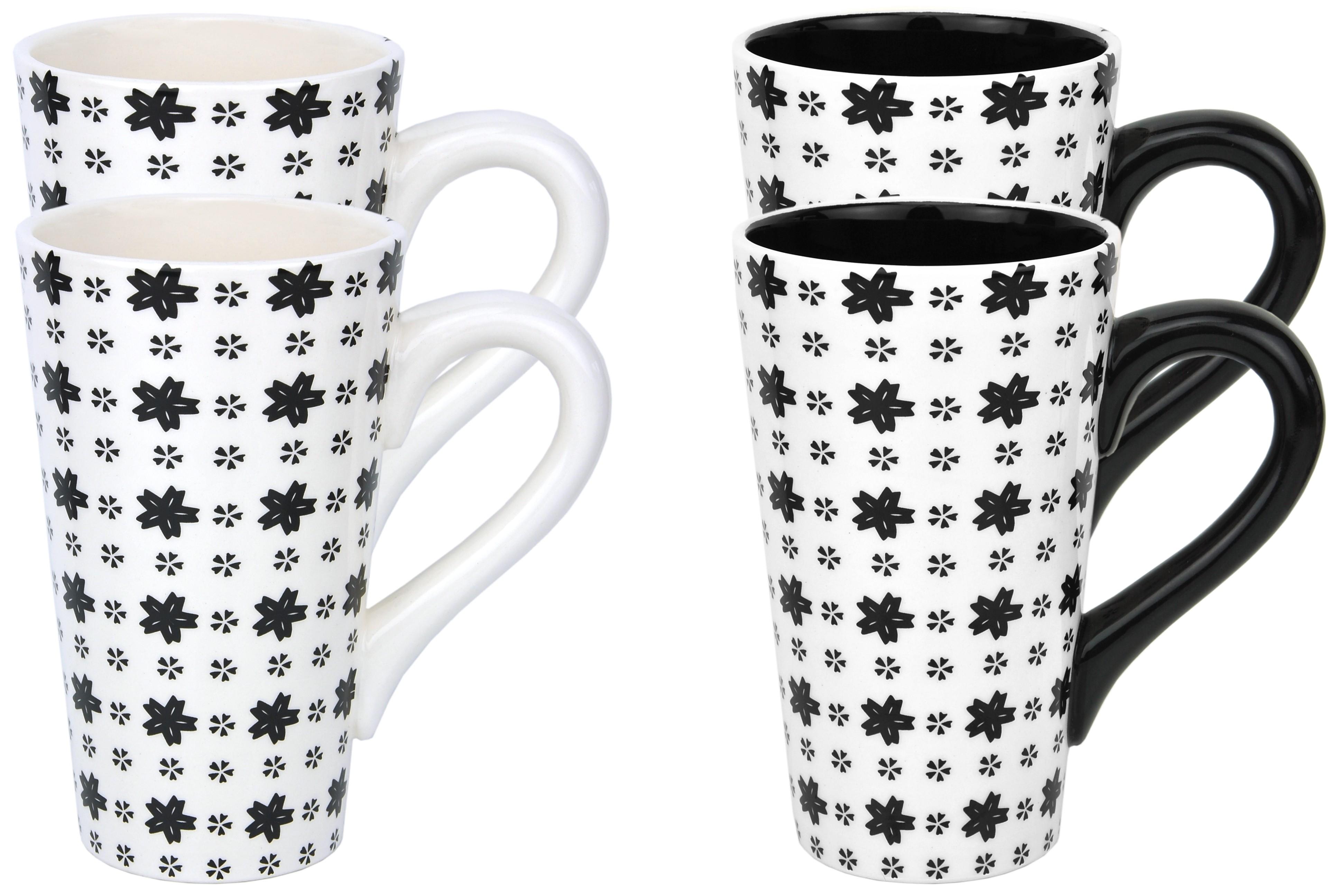 4 tee becher tassen keramik sterne mosaik schwarz wei jameson tailor teeprobe ebay. Black Bedroom Furniture Sets. Home Design Ideas