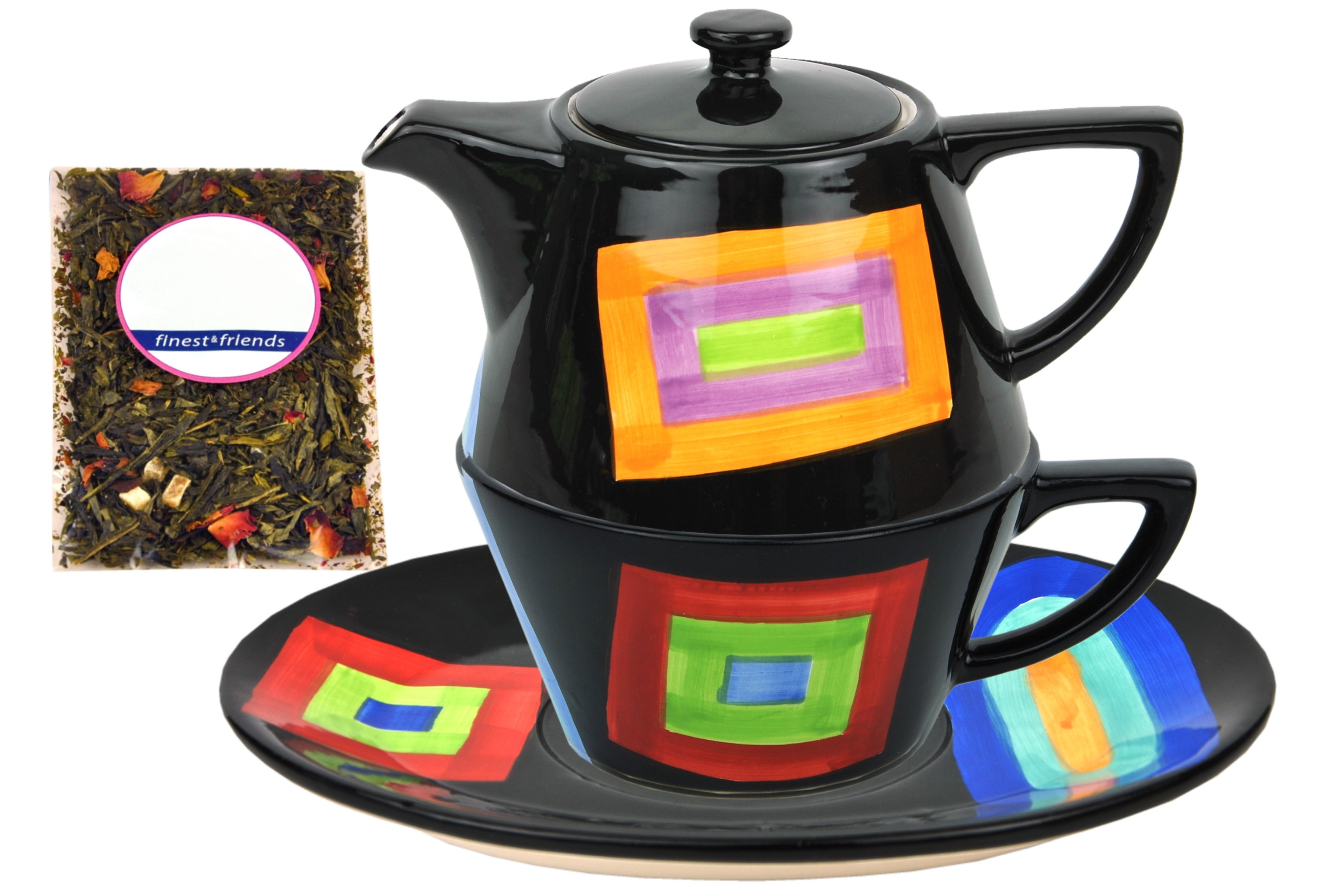 tea for one keramik dekor farbkaros jameson tailor 6049 teeprobe porzellan teekannen. Black Bedroom Furniture Sets. Home Design Ideas