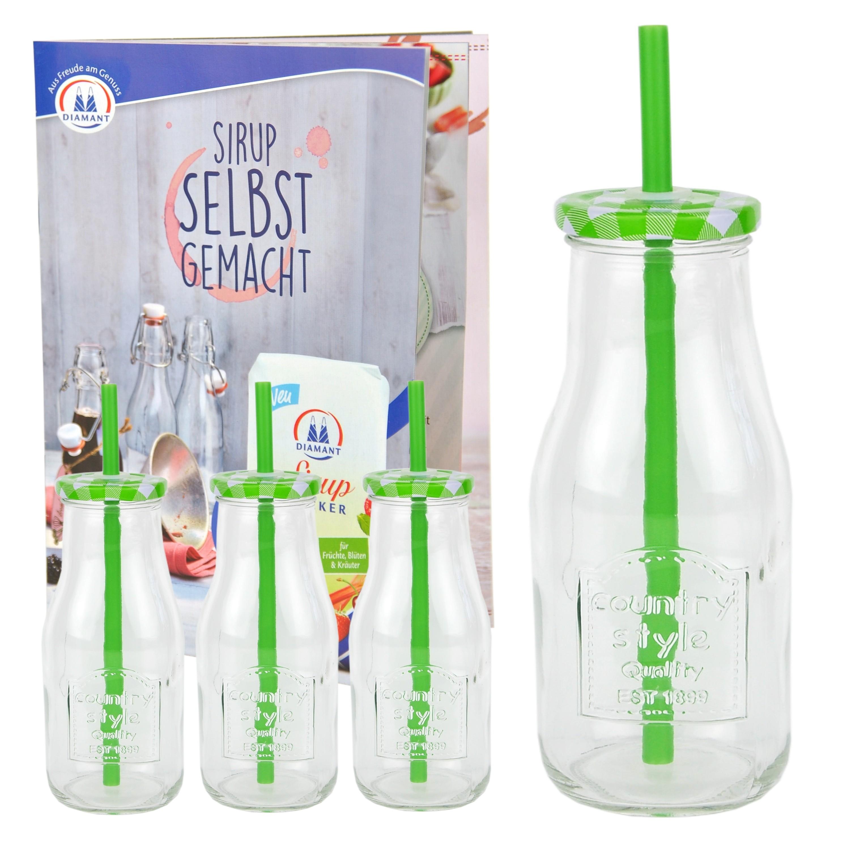 4 smoothie flaschen trinkflaschen trinkbecher deckel strohhalm gr n 400ml glas ebay. Black Bedroom Furniture Sets. Home Design Ideas