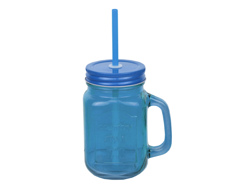 6 blaue smoothie trinkbecher saft trinkglas becher deckel strohhalm 450ml glas 4250857247196 ebay. Black Bedroom Furniture Sets. Home Design Ideas