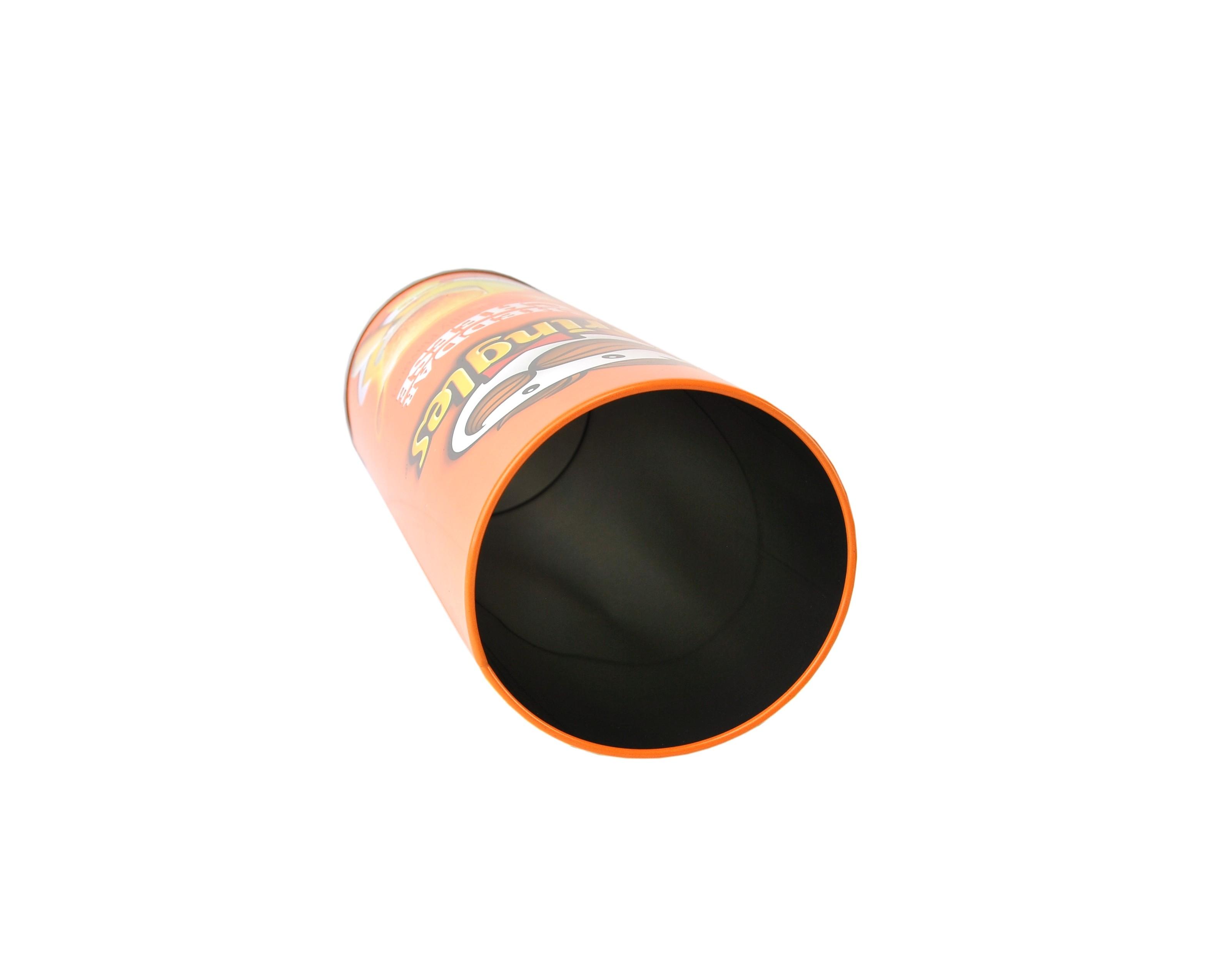 orangene pringles metalldose mit deckel im cheddar cheese motiv einmachen und aufbewahren. Black Bedroom Furniture Sets. Home Design Ideas