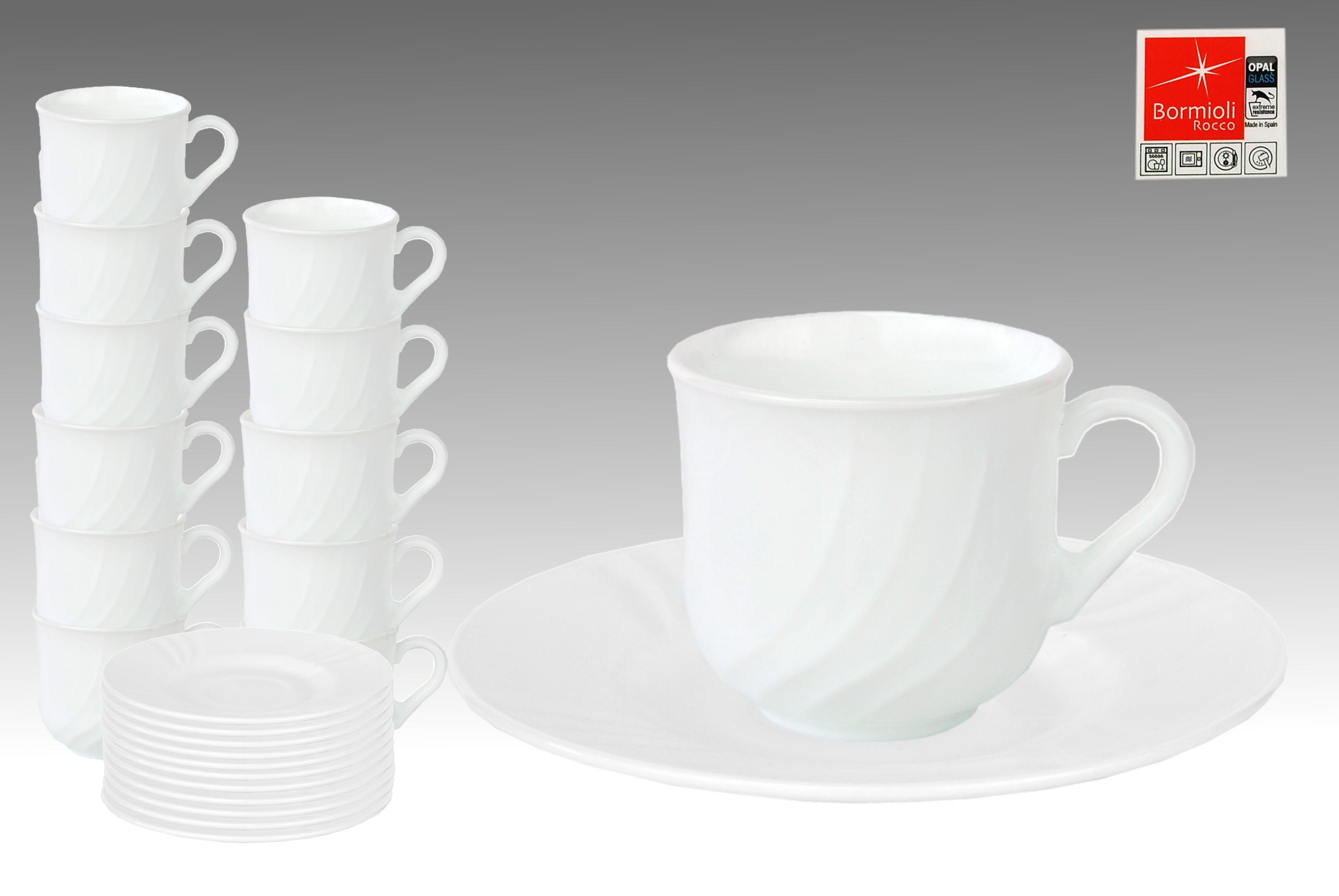 12er set kaffeetasse 25cl mit untertasse 15 5cm ebro aus opal hartglas porzellan tassen und becher. Black Bedroom Furniture Sets. Home Design Ideas