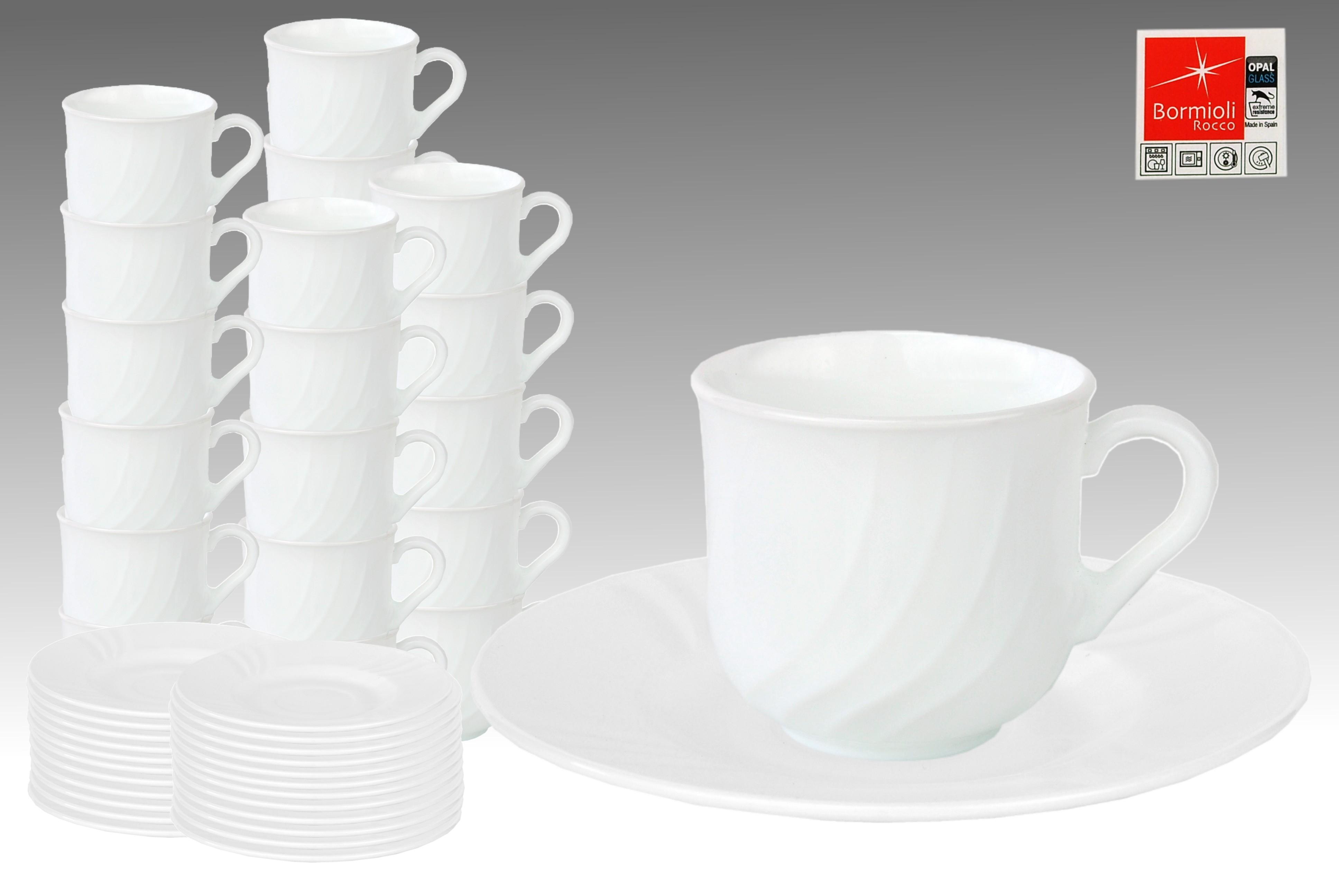 24er set kaffeetasse 25cl mit untertasse 15 5cm ebro aus opal hartglas porzellan tassen und becher. Black Bedroom Furniture Sets. Home Design Ideas