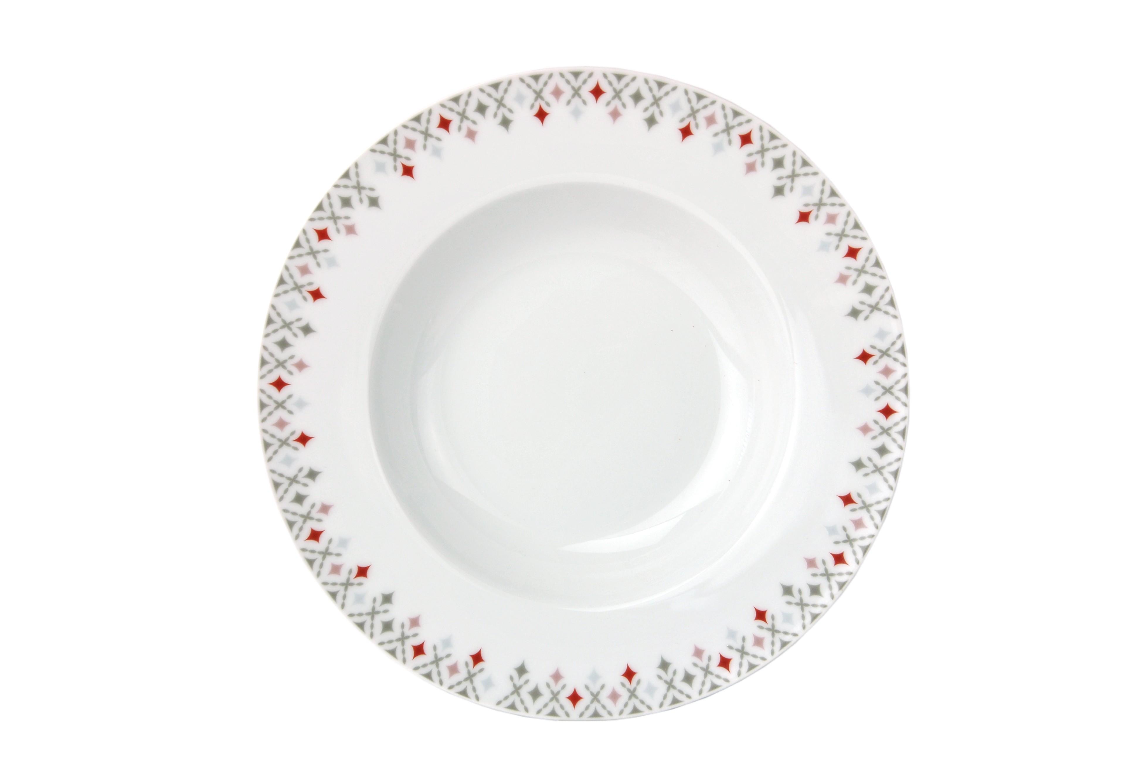 tafelservice 12tlg medina rot porzellan rund wei karomuster 6 personen teller 4250857250608 ebay. Black Bedroom Furniture Sets. Home Design Ideas