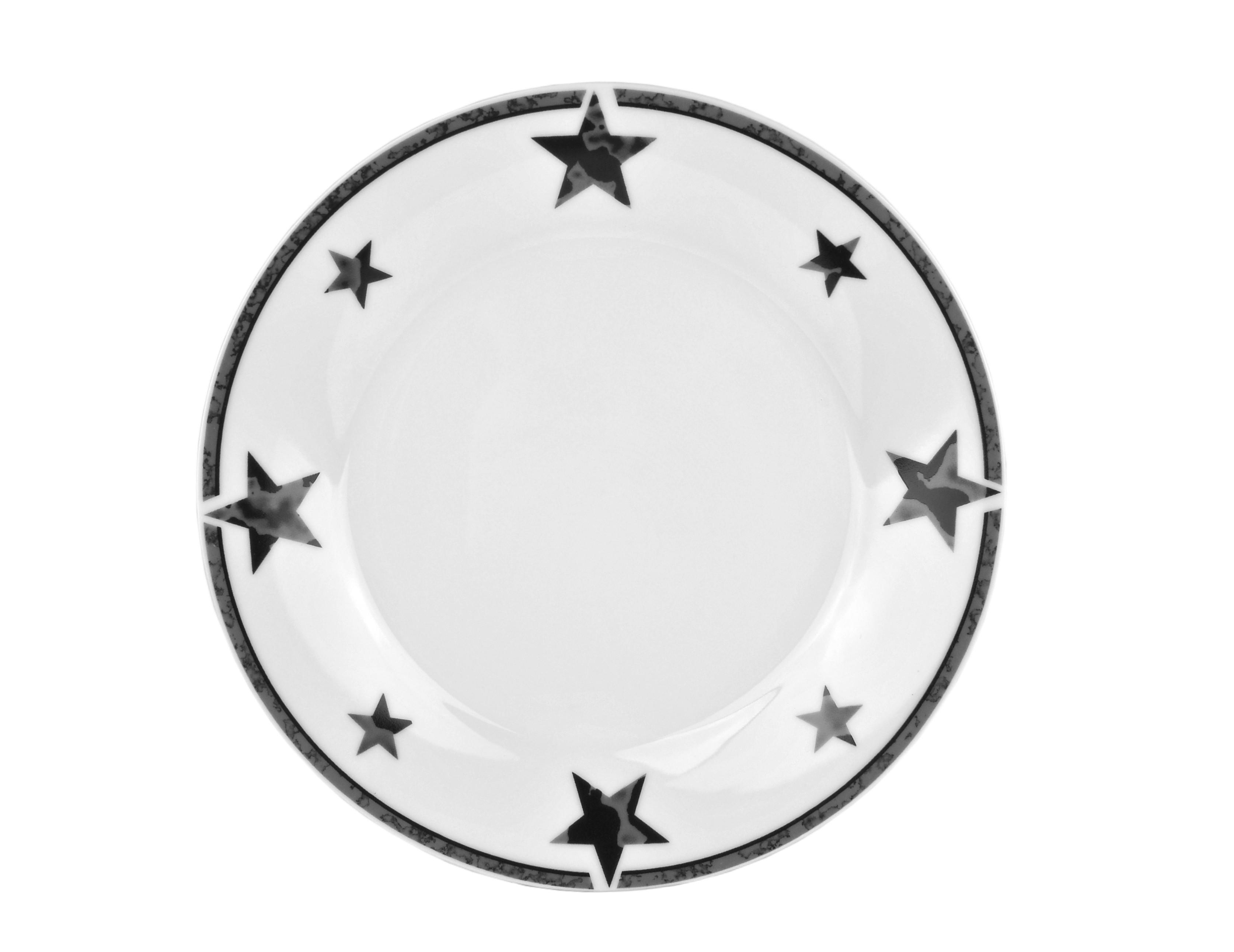 tafelservice 12tlg silver star rund porzellan wei 6 personen teller geschirr ebay. Black Bedroom Furniture Sets. Home Design Ideas
