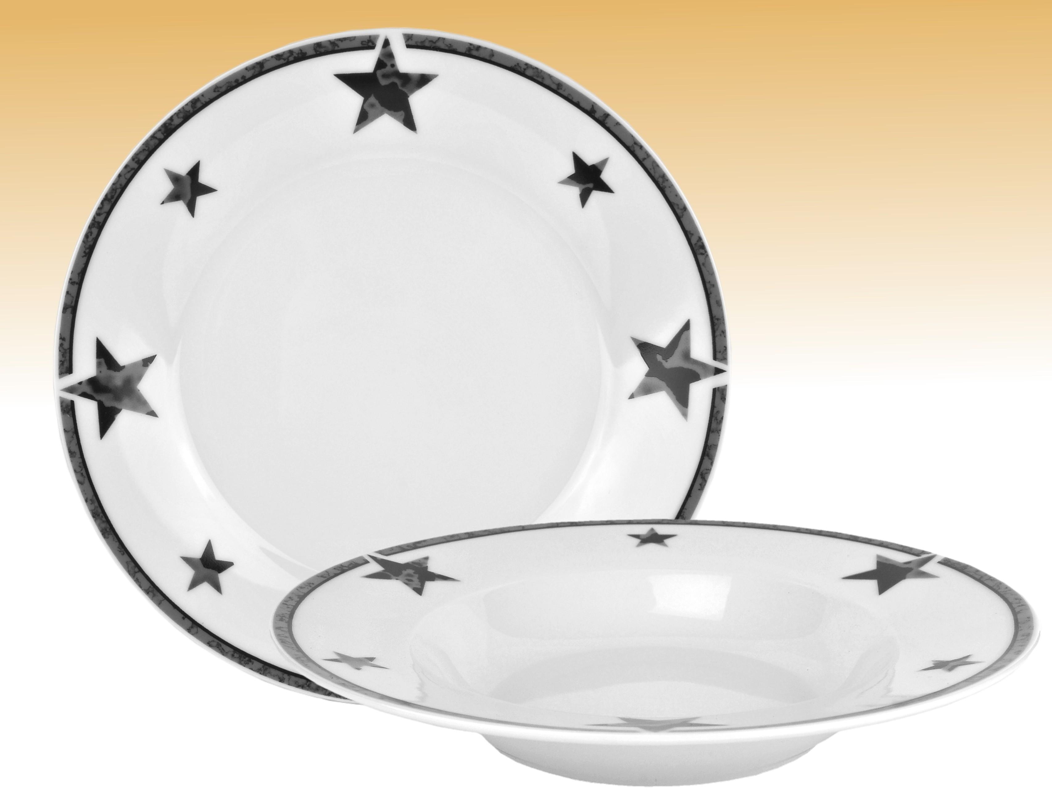 tafelservice 24tlg silver star rund porzellan wei 12 personen teller geschirr ebay. Black Bedroom Furniture Sets. Home Design Ideas