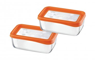 2er Set Frischhaltedose Frigoverre Fun 21x13cm Glas Orange – Bild 1