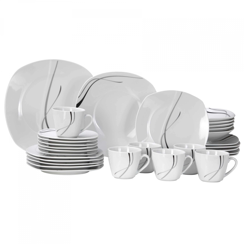 kombiservice silver night 30tlg f r 6 personen porzellan. Black Bedroom Furniture Sets. Home Design Ideas